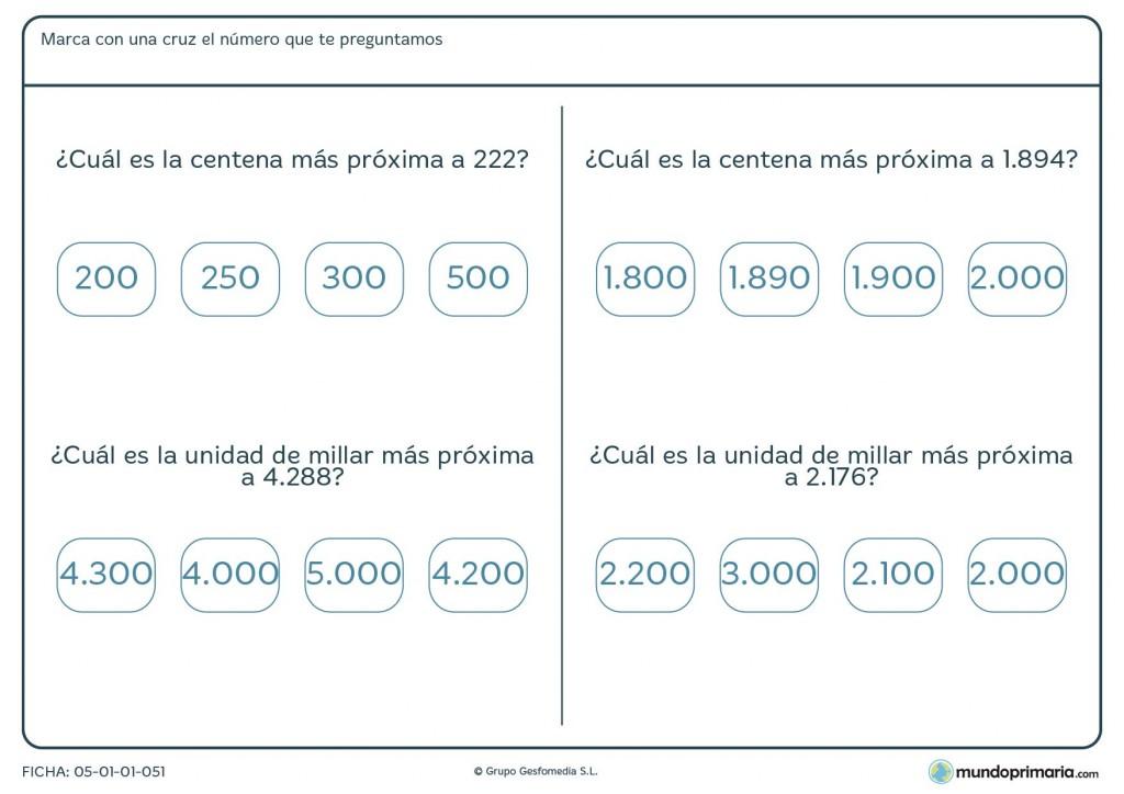Ficha de aproximarse a centena y unidad de millar para Primaria