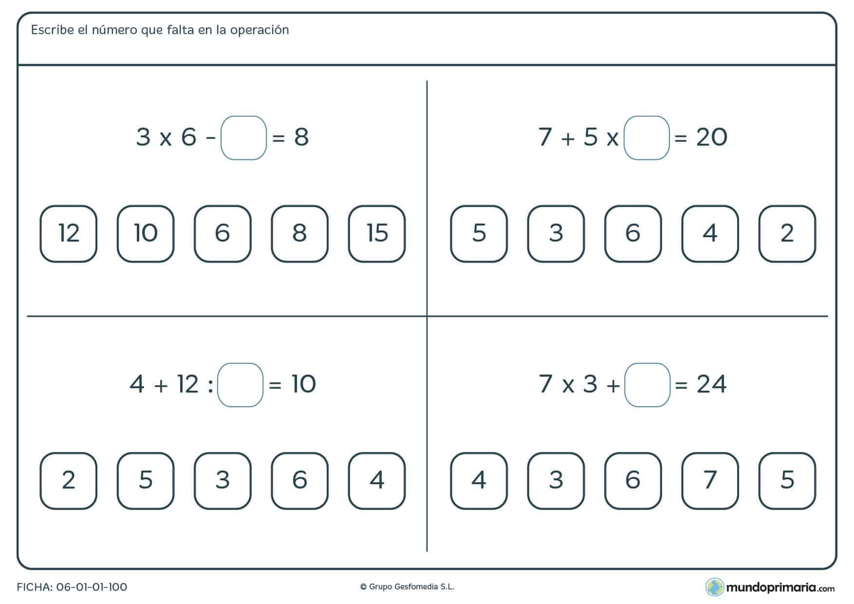 Ficha de averiguar el número asiente en cada operación, diseñada para la práctica de la jerarquía de operaciones y el cálculo en general para alumnos de cuarto curso de Primaria
