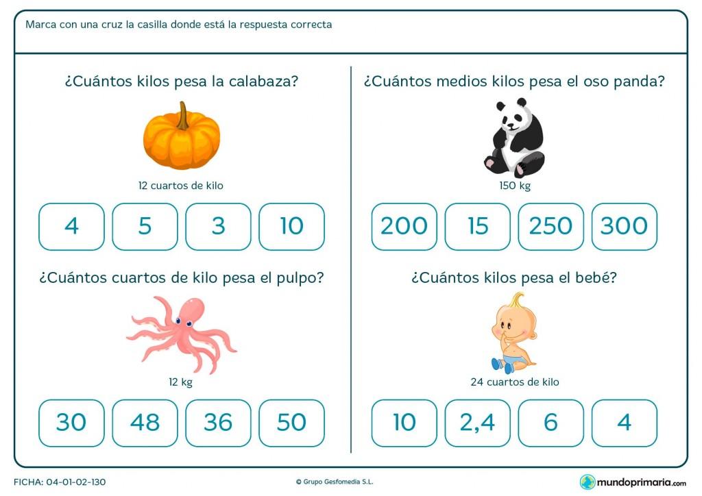 Ficha de cálculo de peso de objetos para primaria