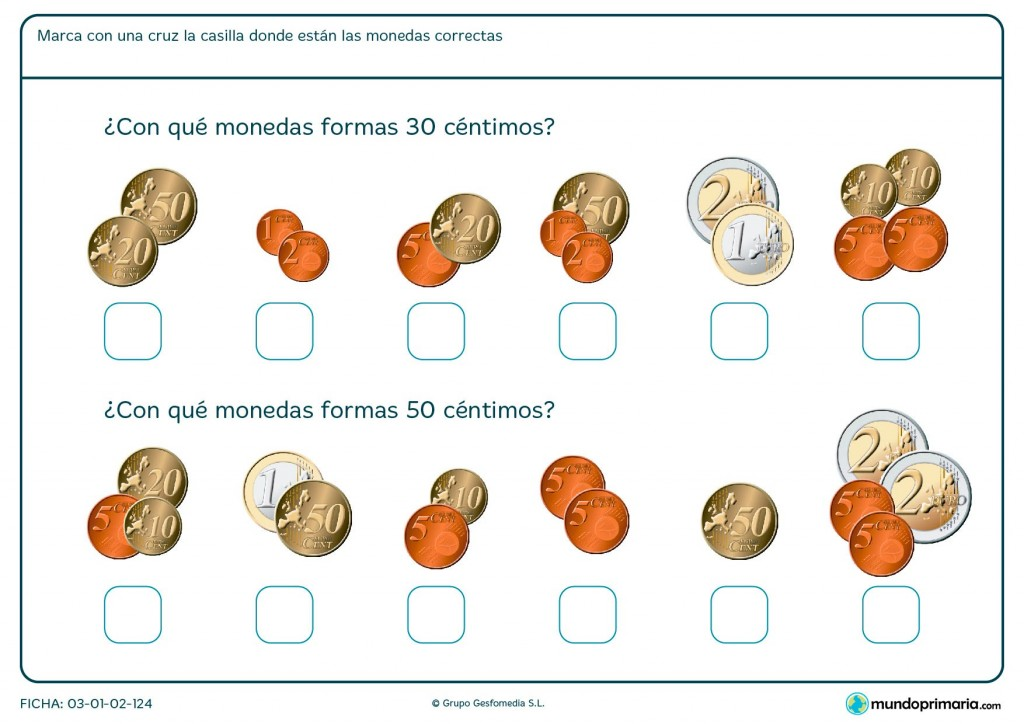 Ficha de céntimos y monedas para Primaria
