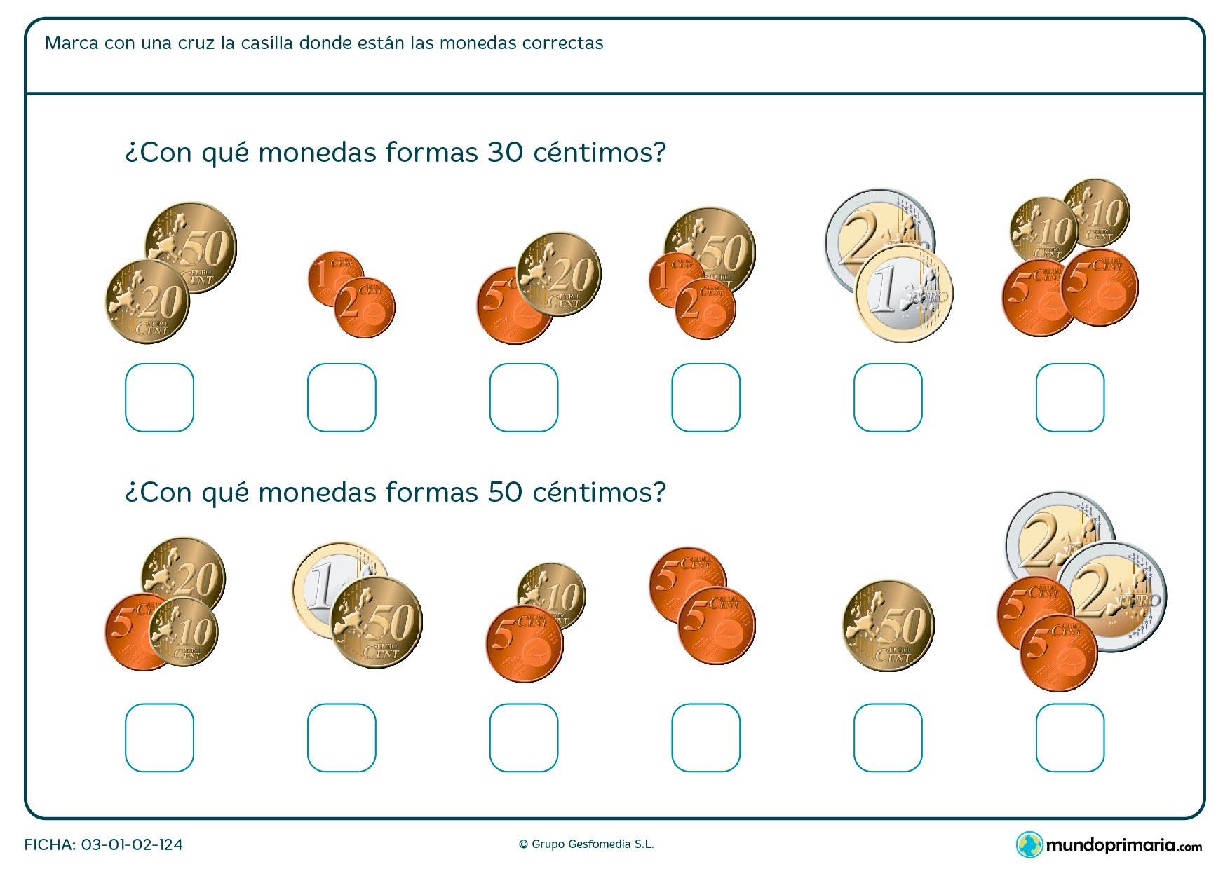 Ficha de céntimos y monedas en la que se debe calcular la cantidad de monedas necesaria.