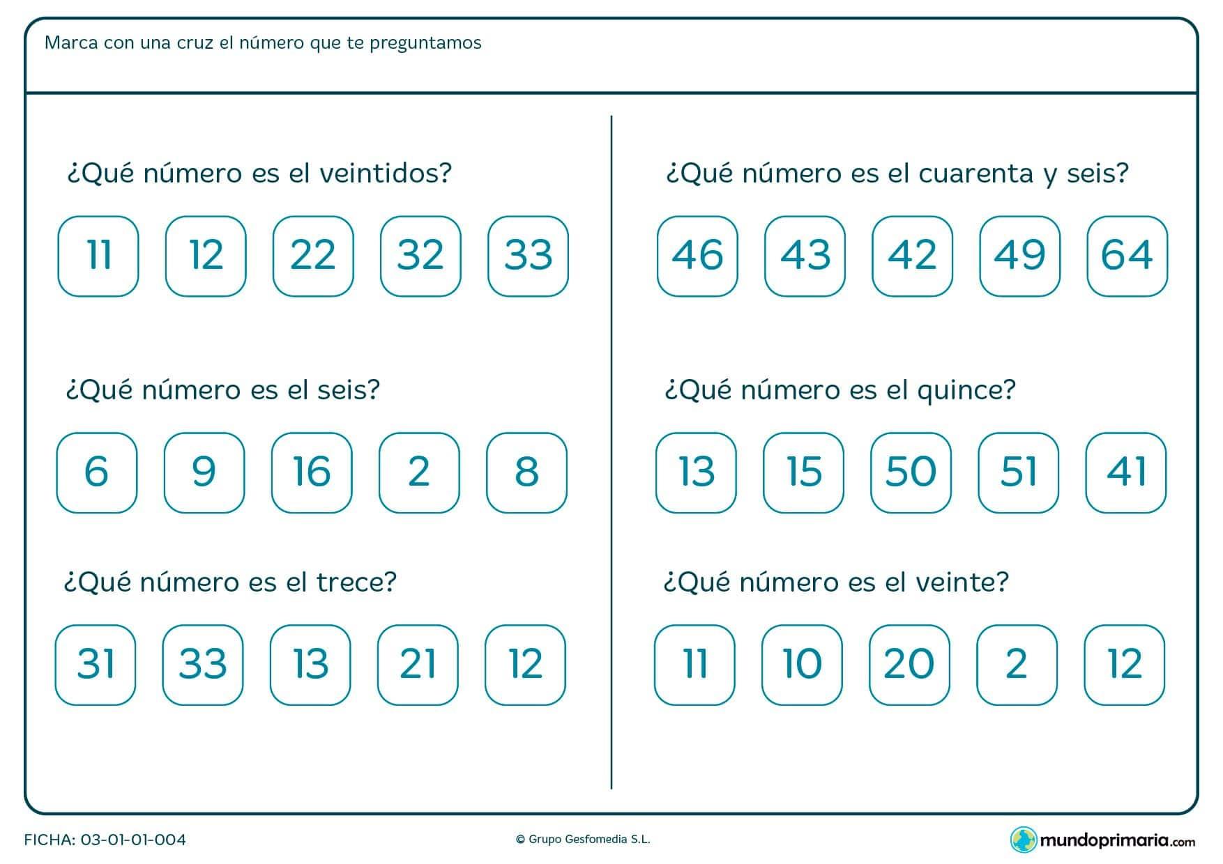 Ficha de cómo se escriben los números en el cuál hay que marcar con una cruz el número correcto.