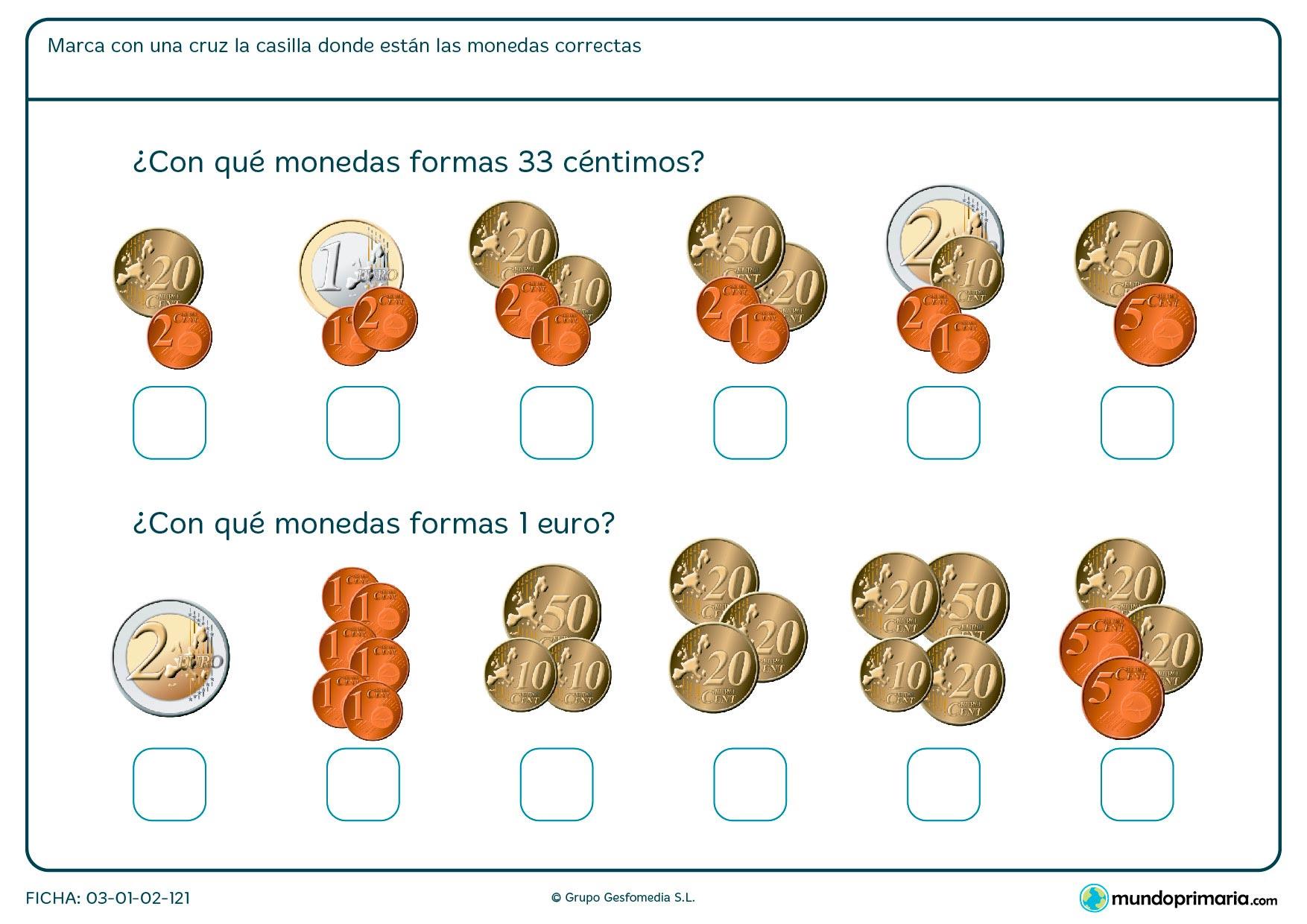Ficha de calcular dinero en la que hay que marcar la casilla con las monedas correctas.