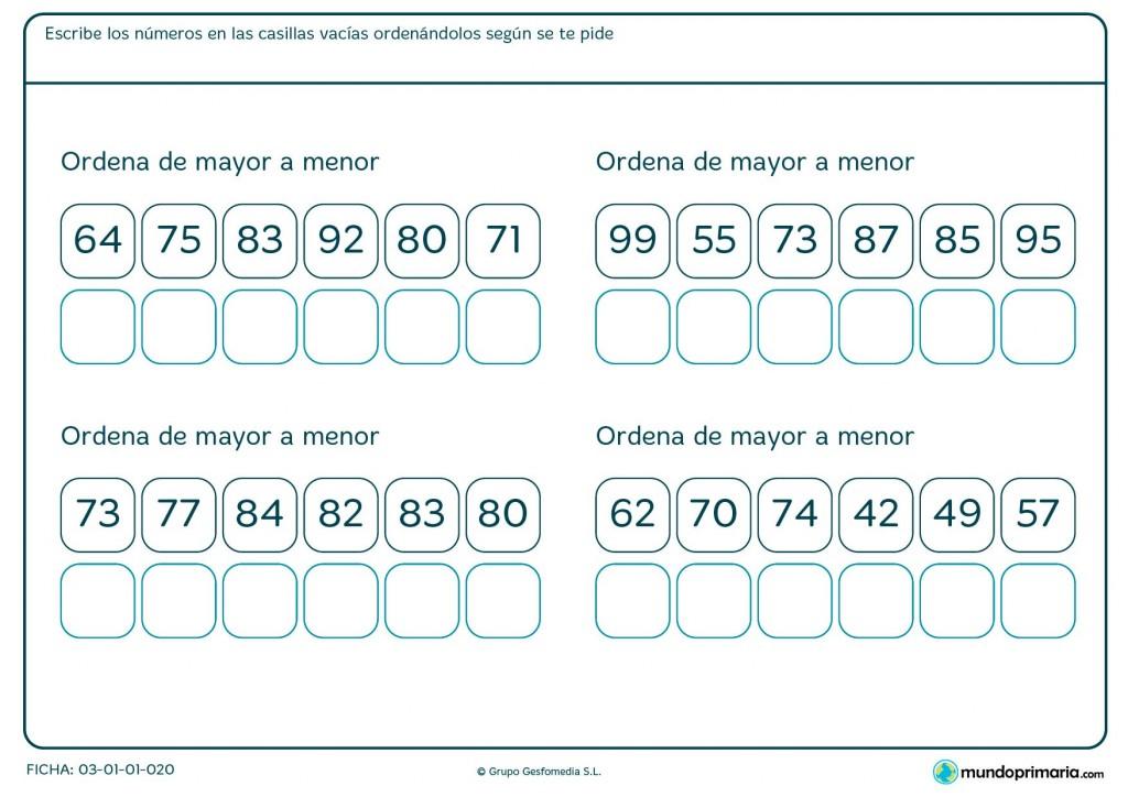 Ficha de colocar de mayor a menor para Primaria