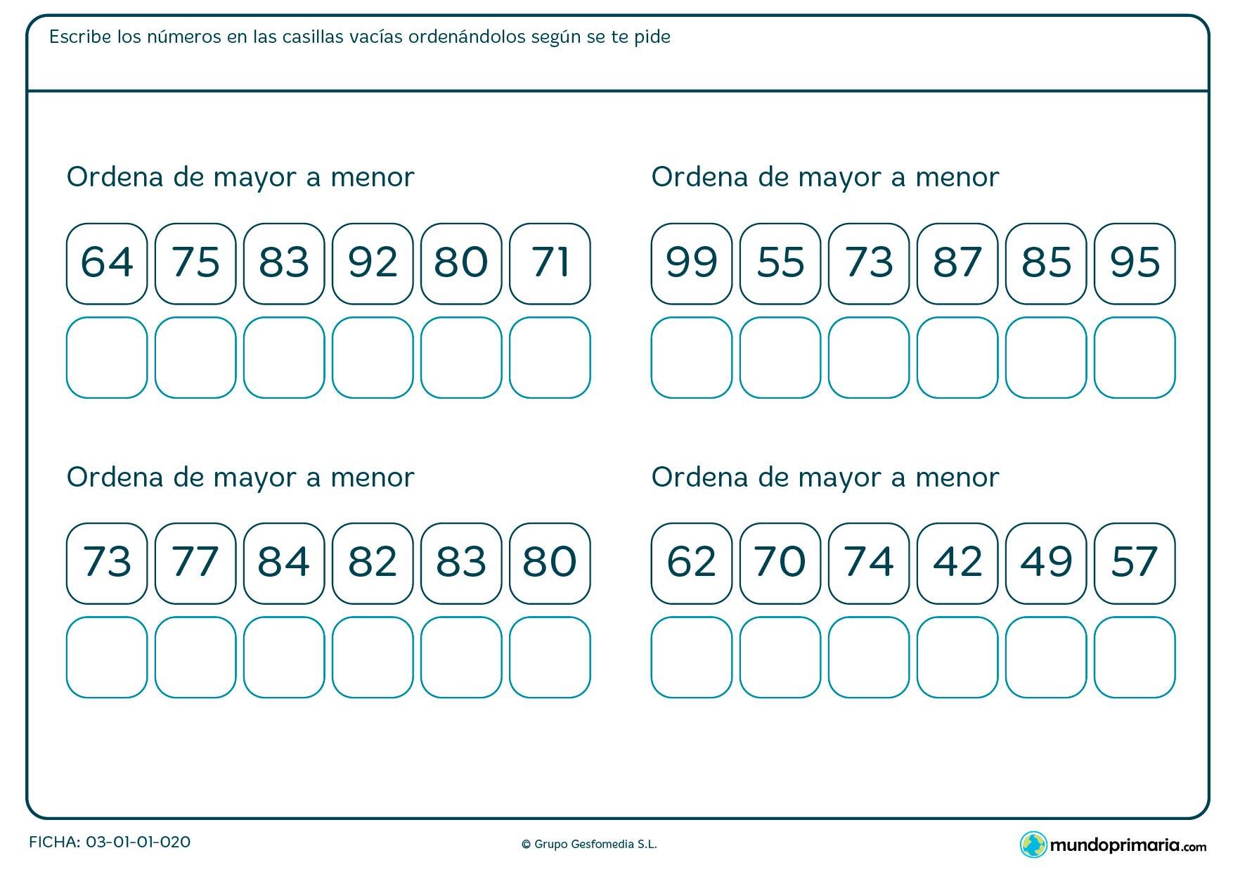 Ficha de colocar de mayor a menor los números en los recuadros que te vienen en cada ejercicio.