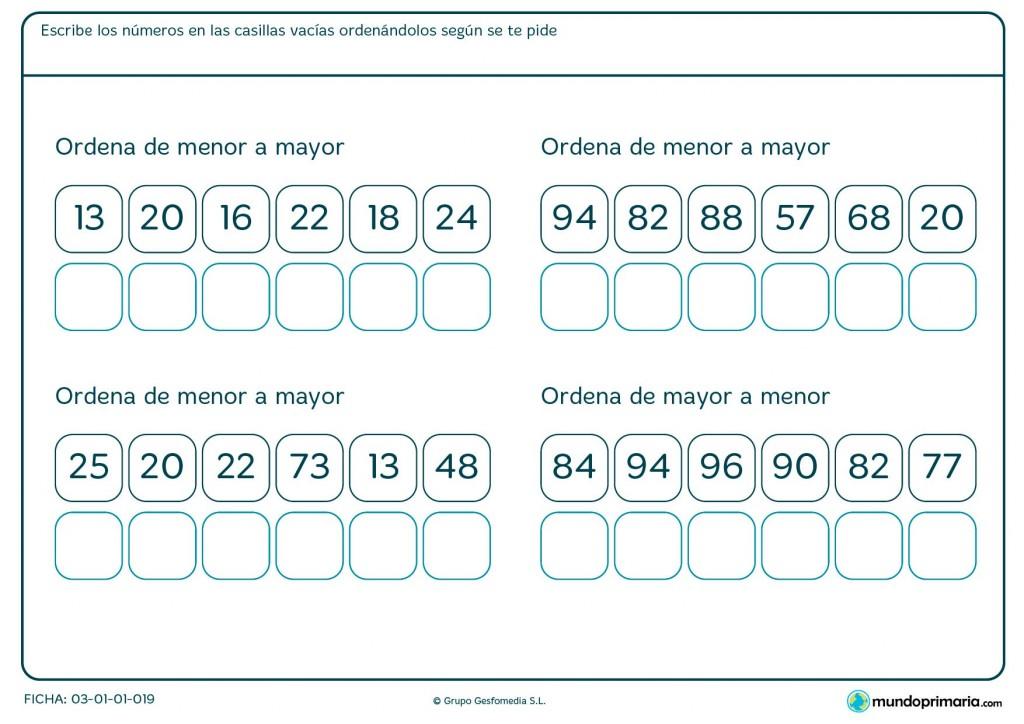 Ficha de colocar los números para Primaria