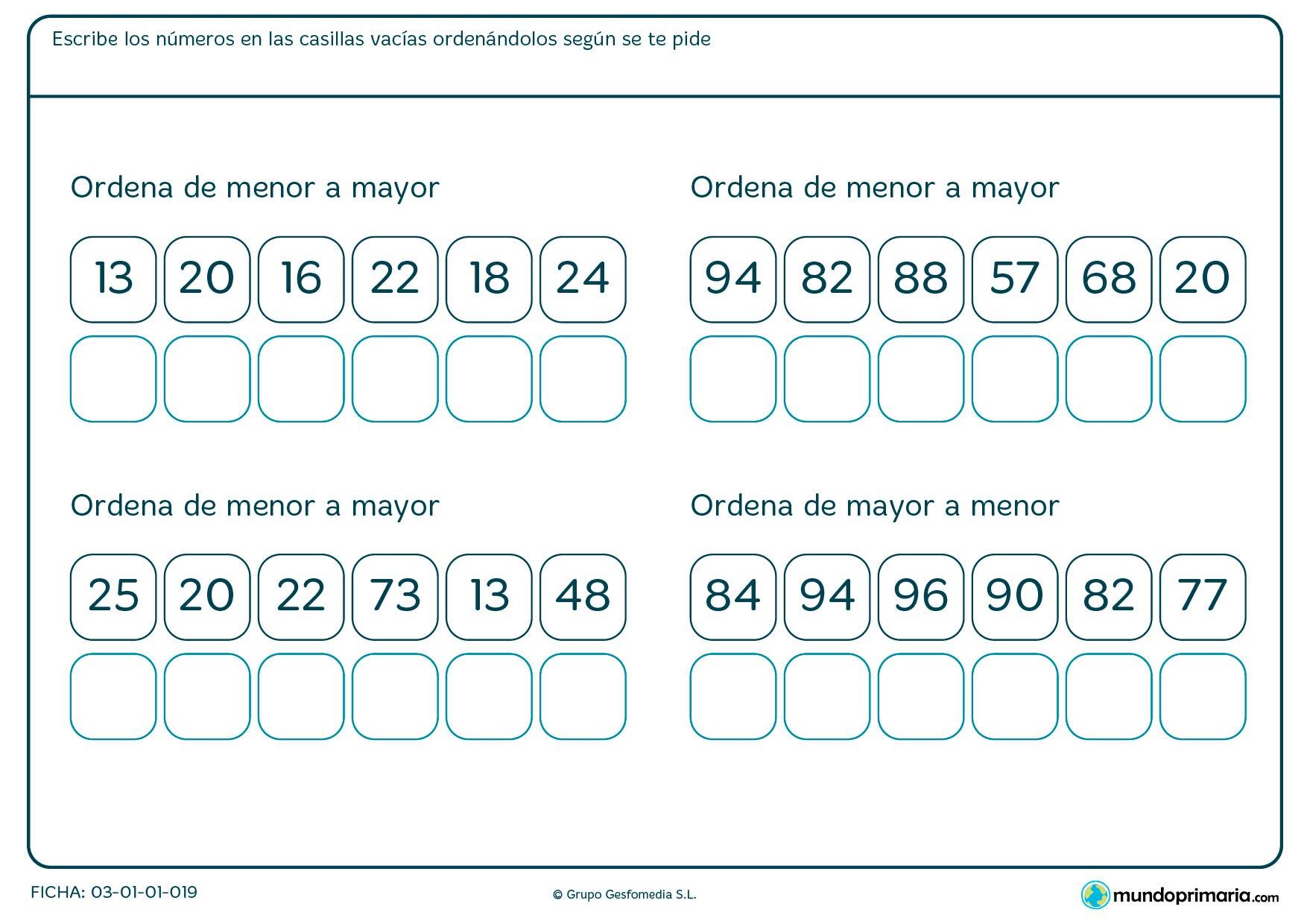 Ficha de colocar los números en el que hay que ordenar estos números en las casillas que te vienen debajo.