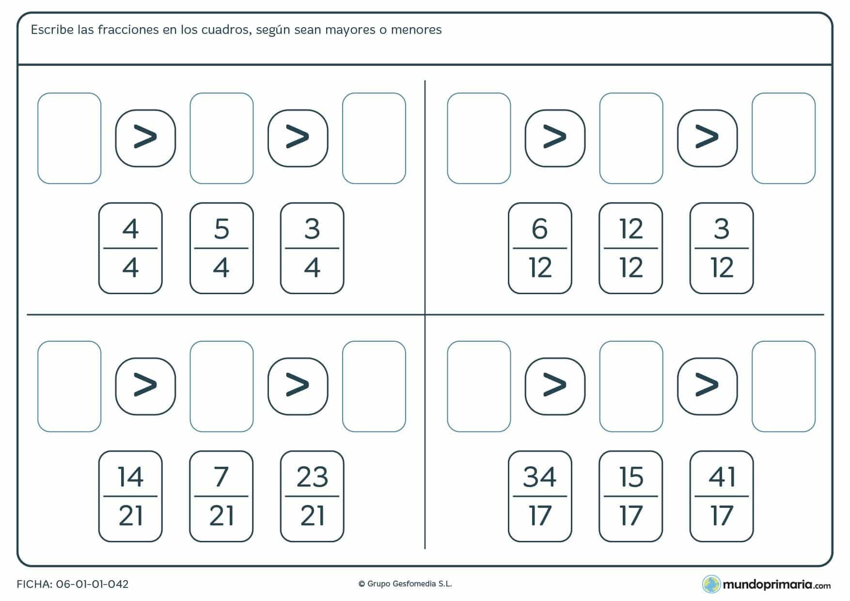 Ficha diseñada para repasar la comparación de fracciones por su numerador para alumnos de cuarto de Primaria
