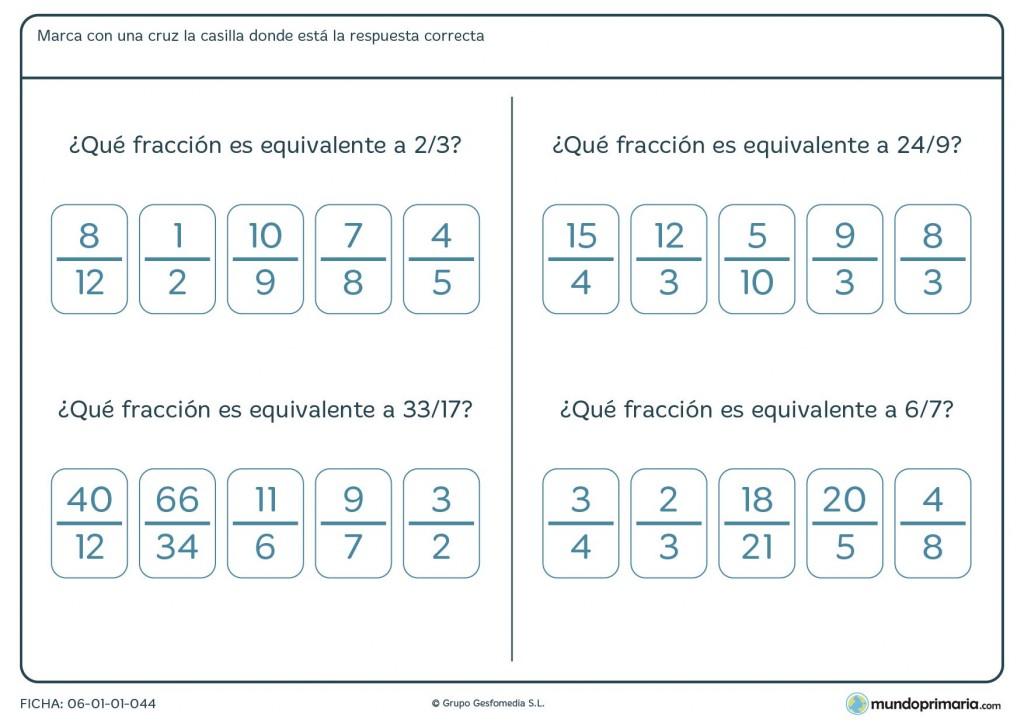 Ficha de comparar las fracciones y señalar la equivalente para Primaria