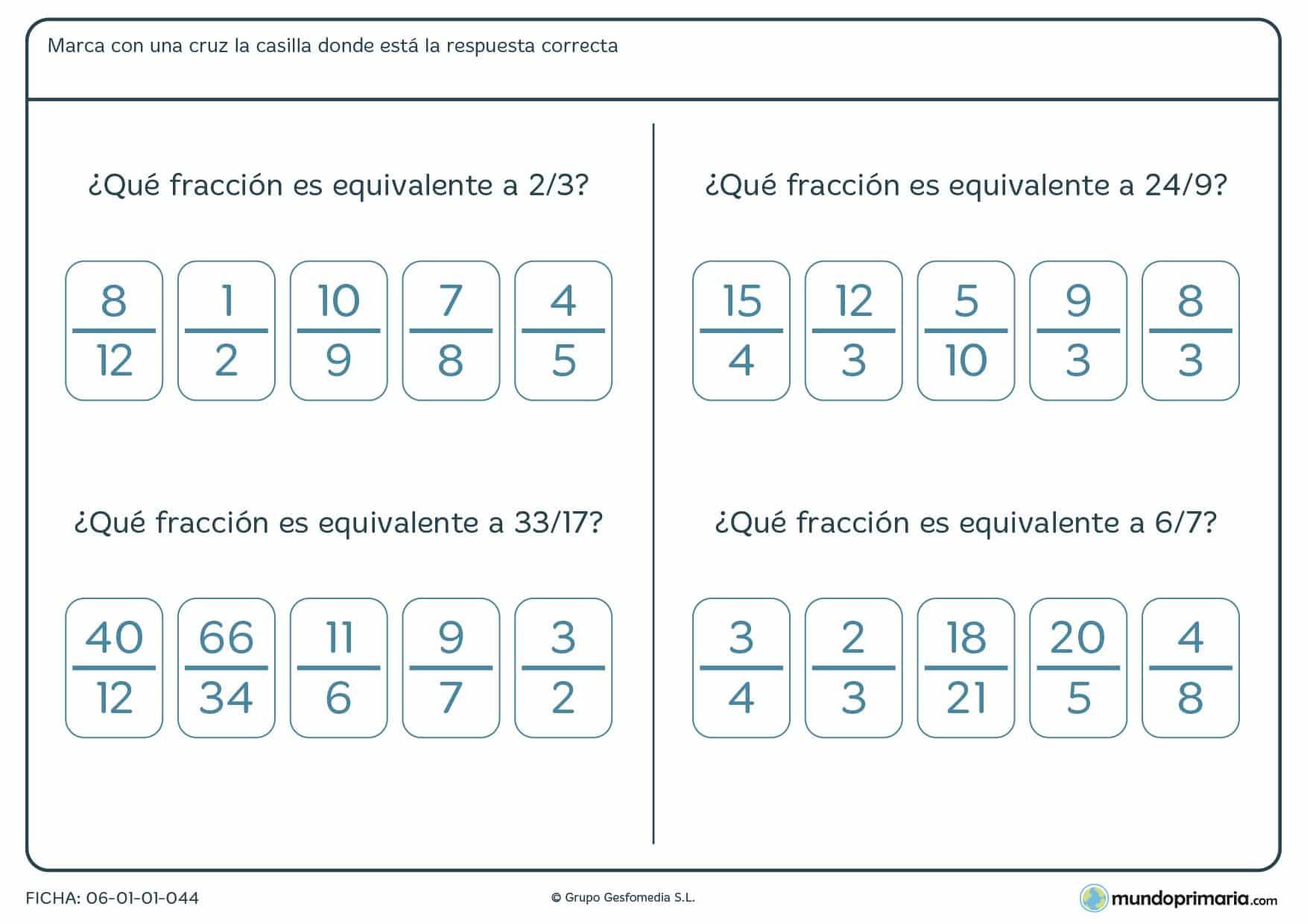 Ficha que comprende cuatro ejercicios de búsqueda de fracciones equivalentes al compararlas entre ellas