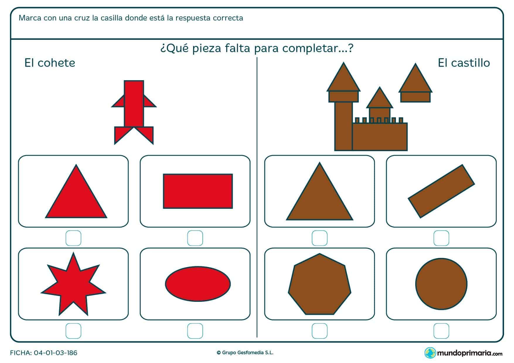Ficha de completar el dibujo con un polígono en la que tendrás que marcar la forma poligonal que falta en la figura.