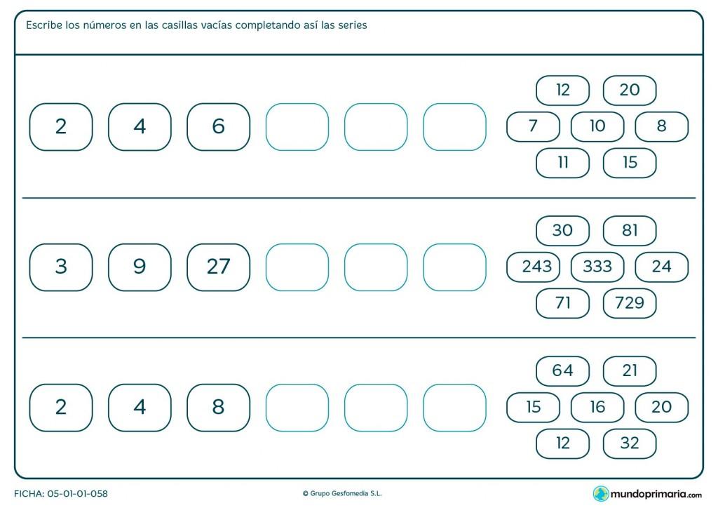 Ficha de completar series de números para Primaria