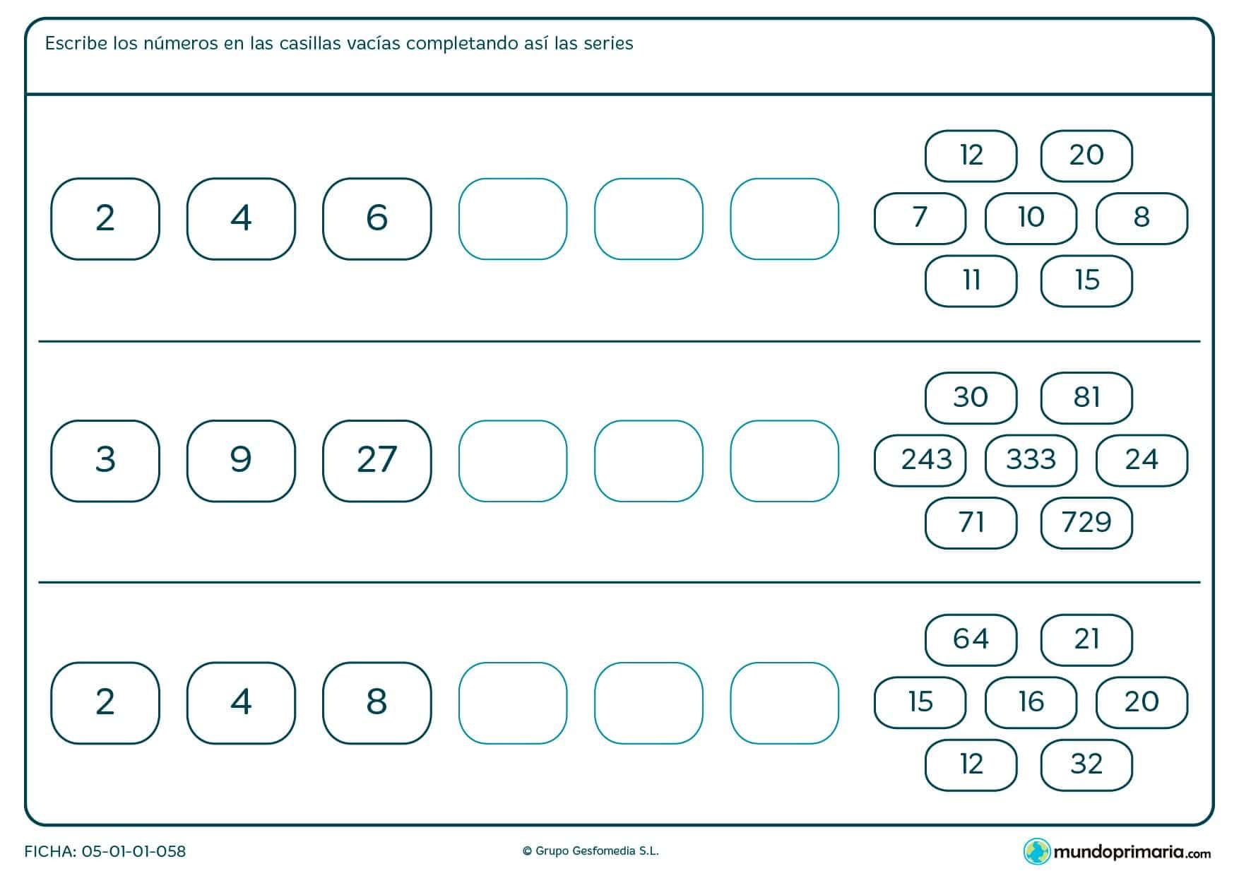Completa los huecos en blanco con los números correspondientes para completar las series.