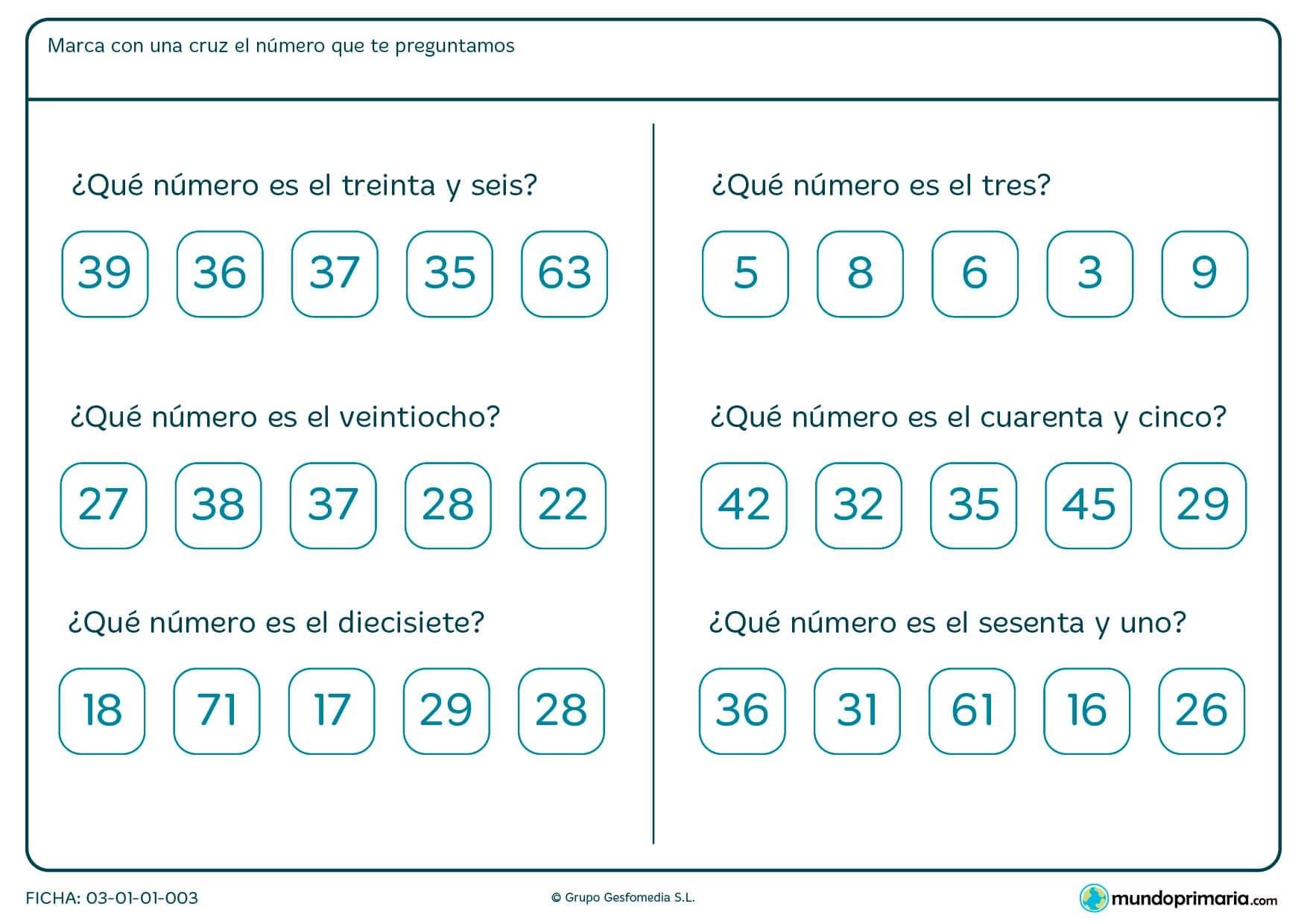 Ficha de cuál es el número escrito en el que hay que marcar el número correspondiente.
