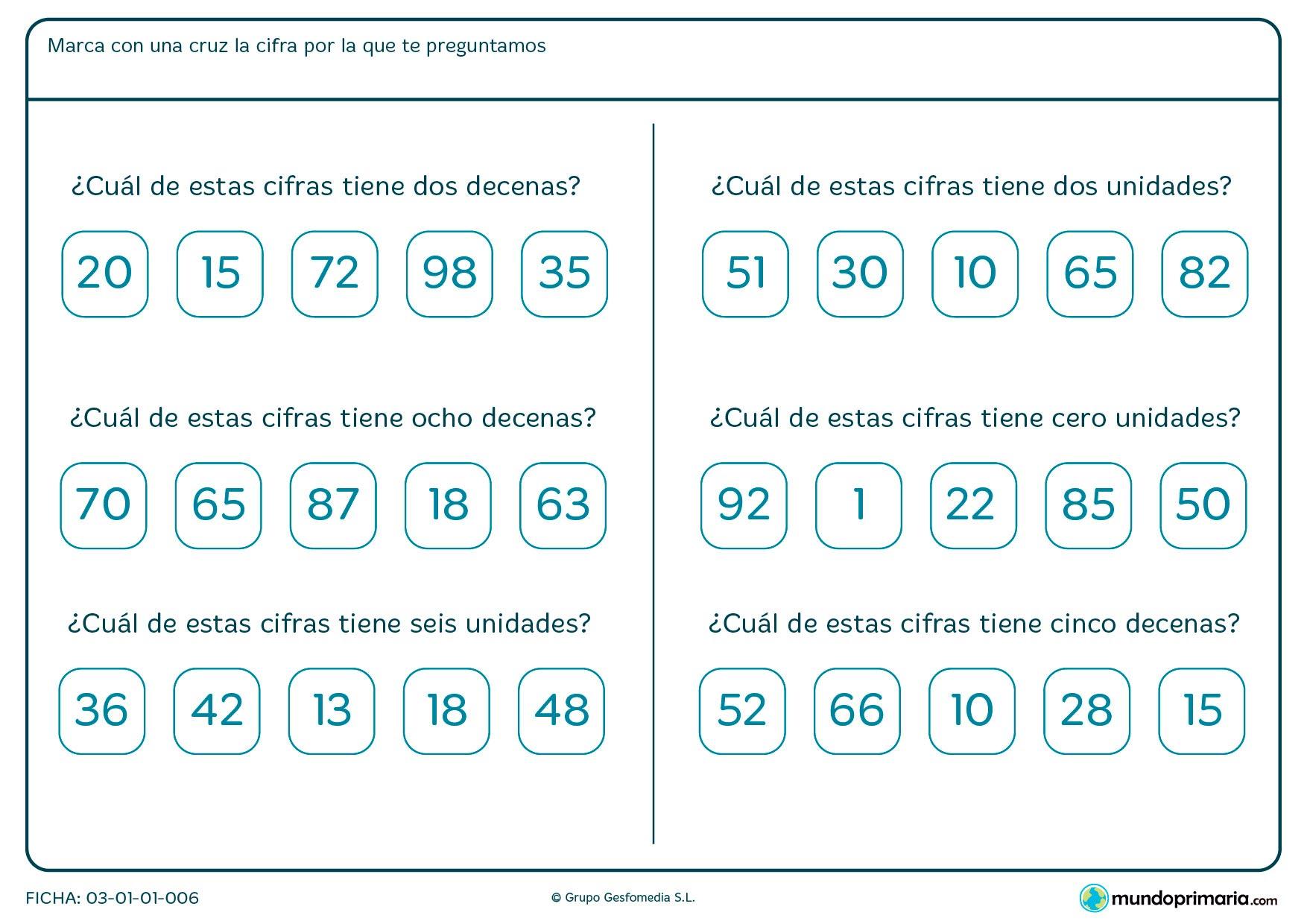Ficha de cuantas decenas y unidades tienen los números en el que marcar la respuesta entre las opciones propuestas.