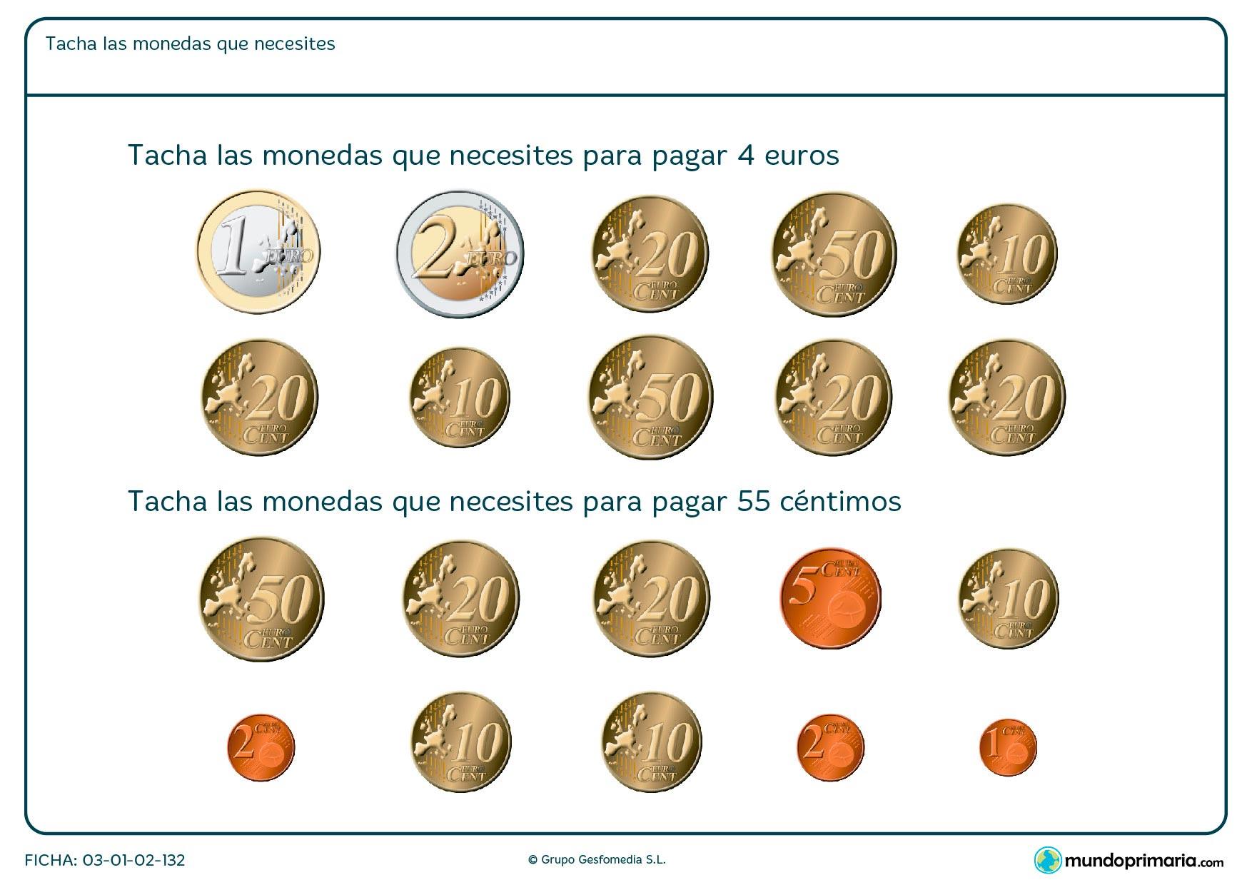 Ficha de cuánto dinero necesito en la que hay que tachar las monedas que correspondan con la cantidad que te piden.