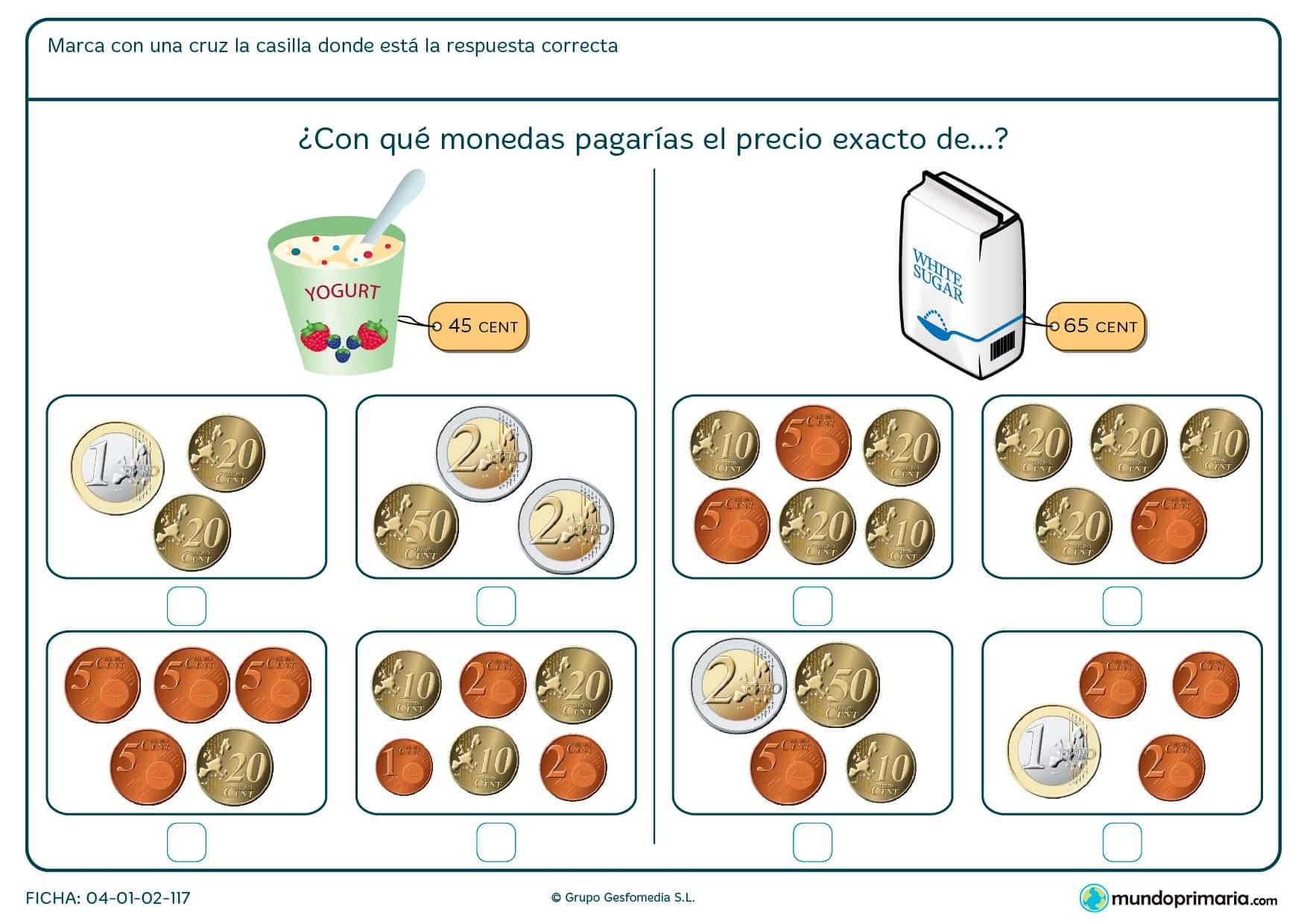 Ficha de decidir el precio exacto del azúcar para niños de Primaria por la que los alumnos aprenderán a manejar monedas.