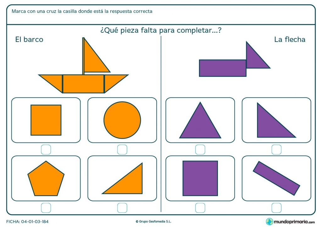 Ficha de decidir qué pieza completa el dibujo para primaria