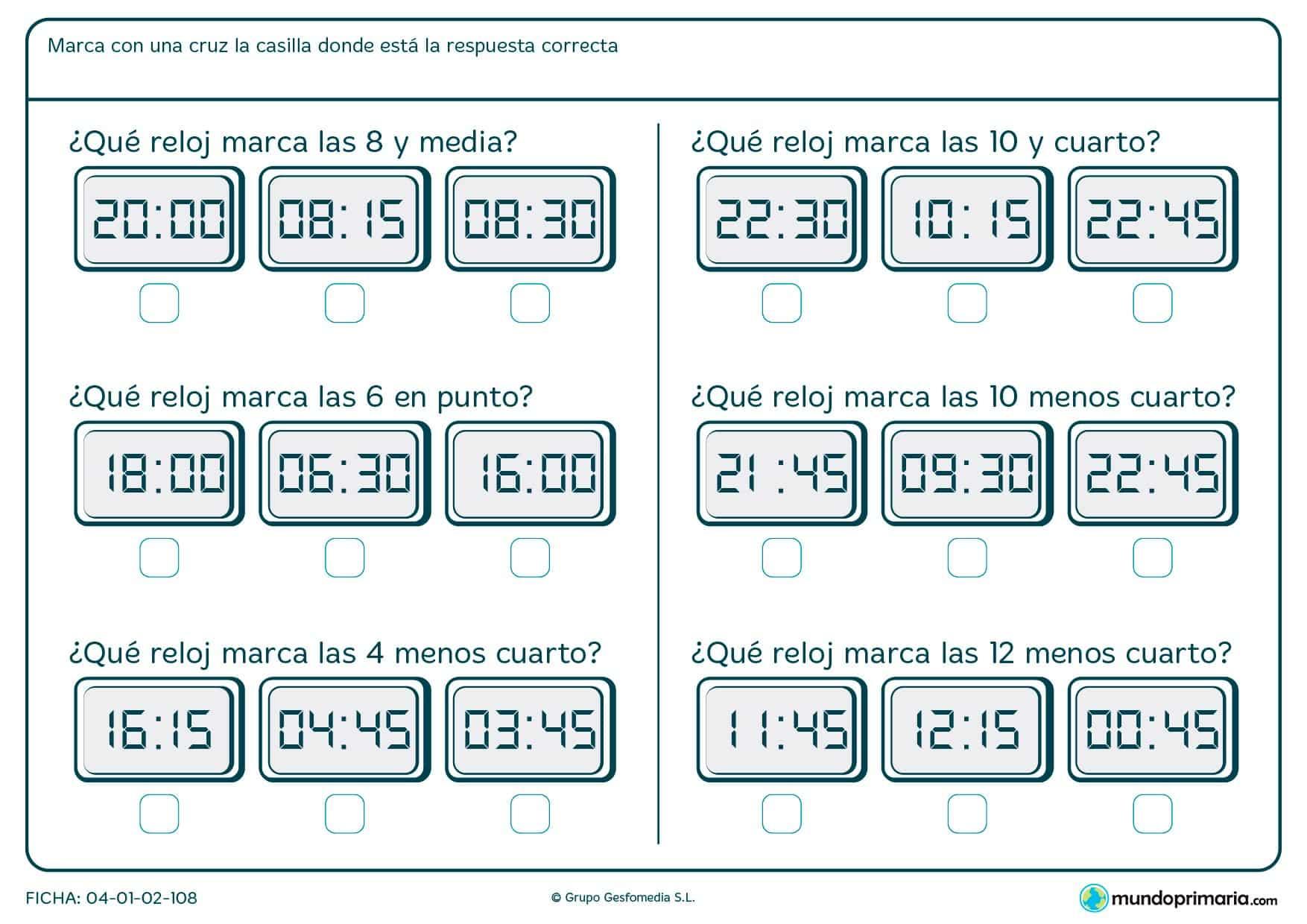 Ficha de destacar el reloj digital correcto para niños de siete a ocho años por la que tendrán que elegir la respuesta al enunciado.