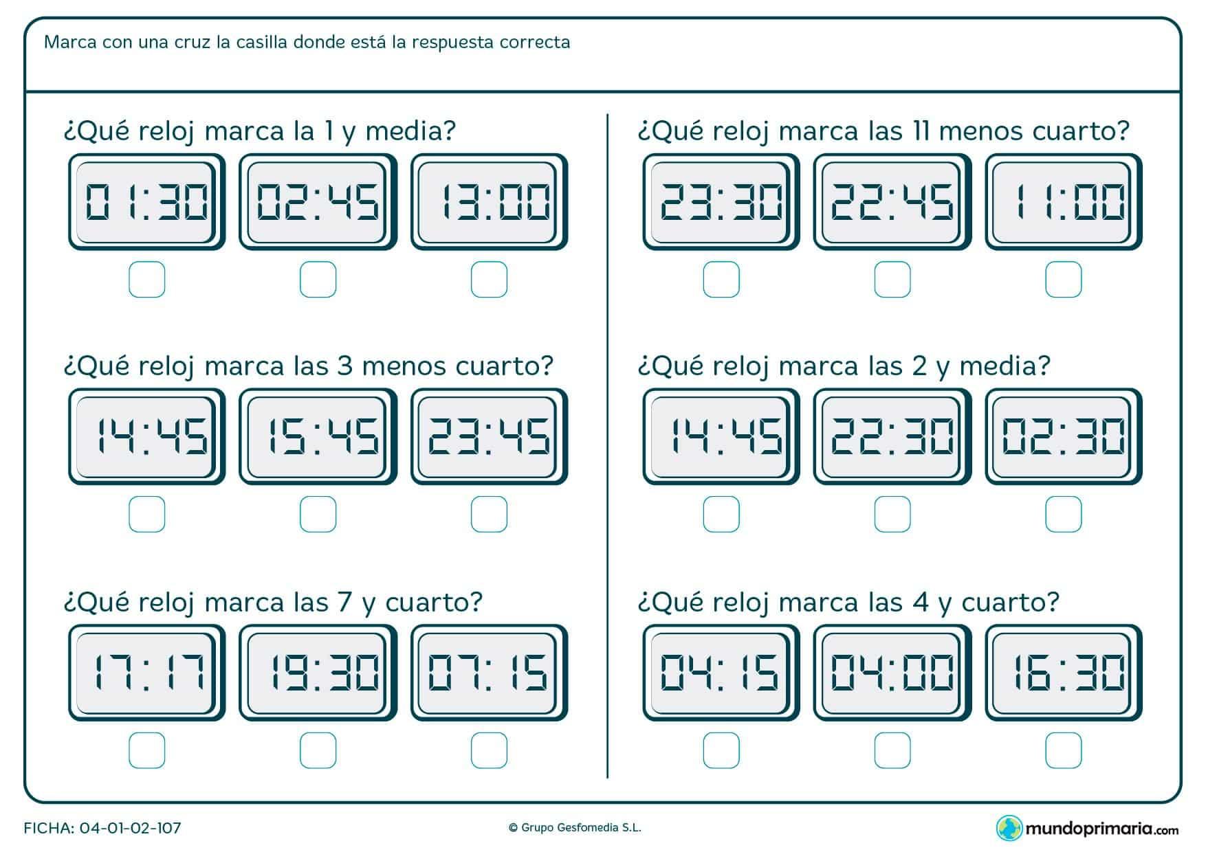 Ficha de destacar el reloj que se pide para segundo de Primaria por la que los niños decidirán cuál es la opción adecuada.