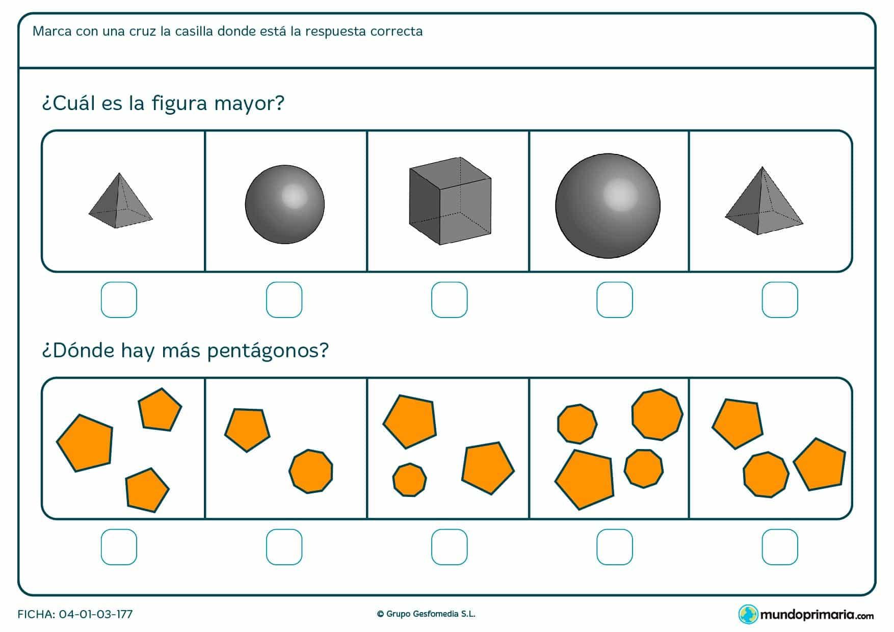 Ficha de diferenciar entre objetos planos y con volumen en la que tendrás que elegir la opción correcta dentro de las posibilidades.