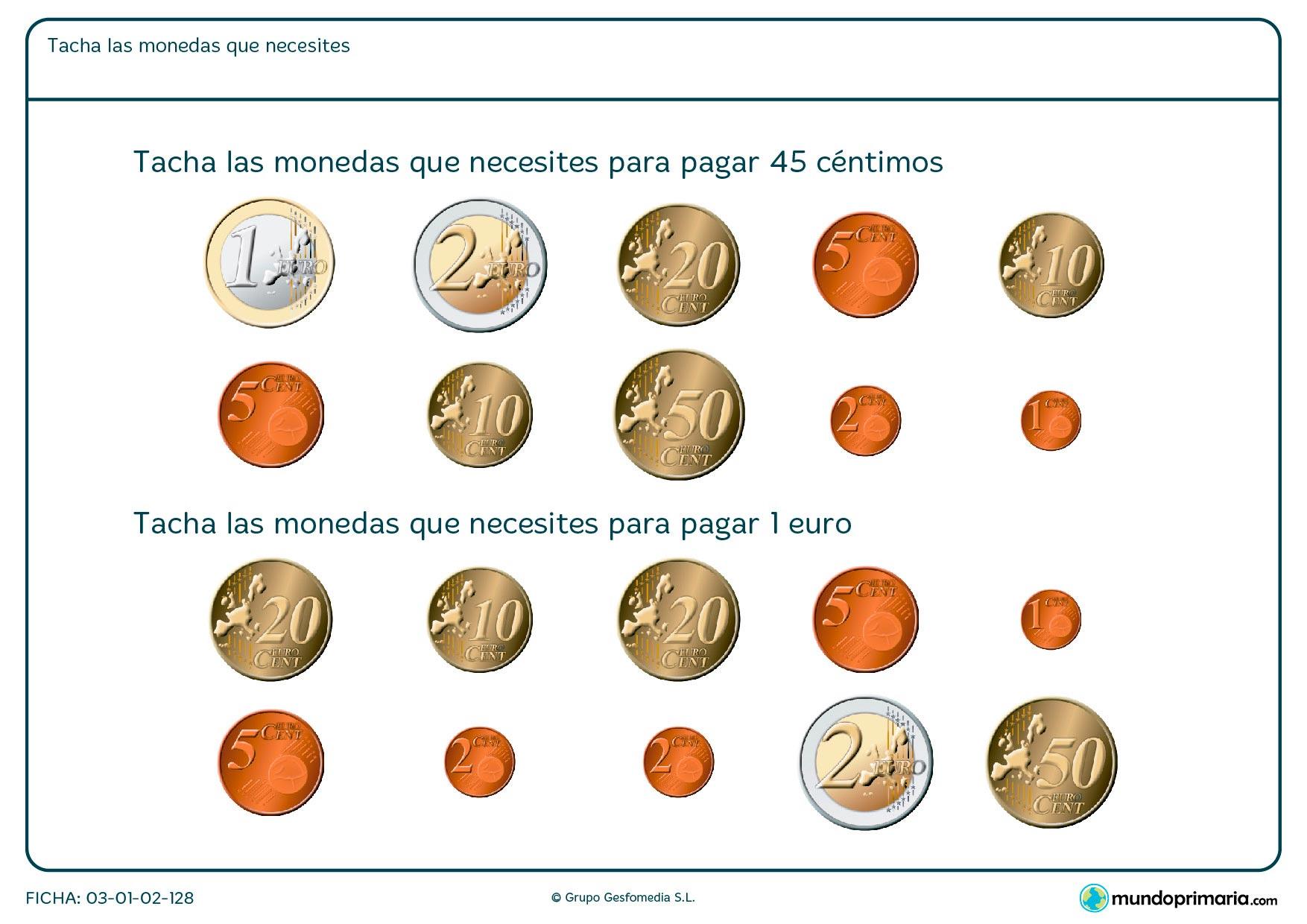 Ficha de dinero necesario en la que hay que elegir las monedas que sumen la cantidad que te pidan.