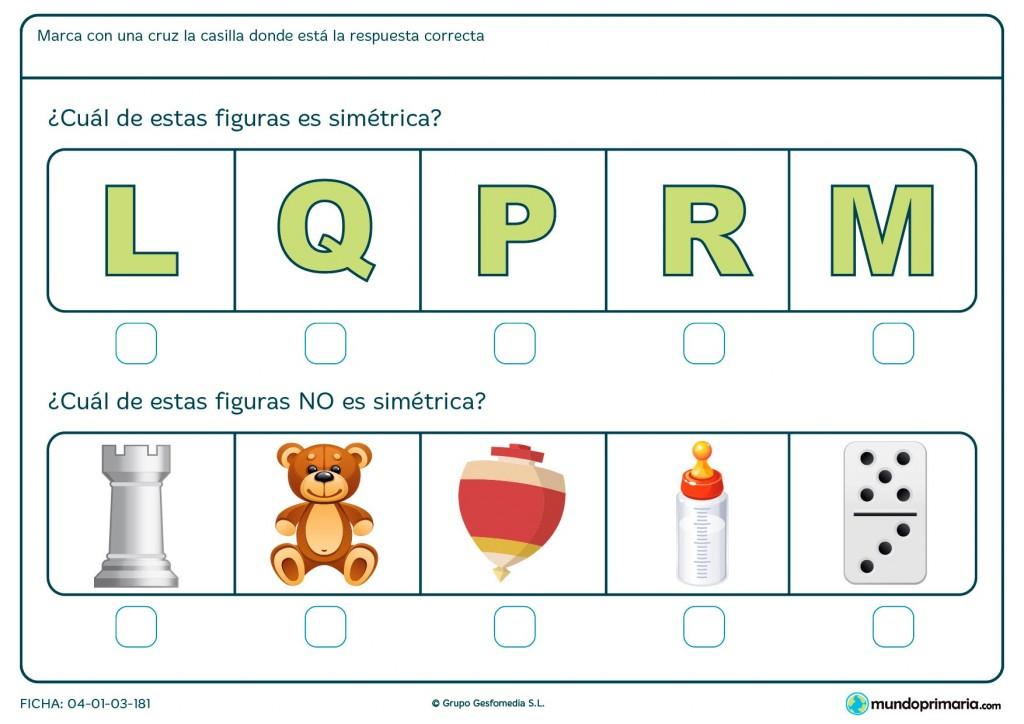 Ficha de distinguir dibujos simétricos y asimétricos para primaria