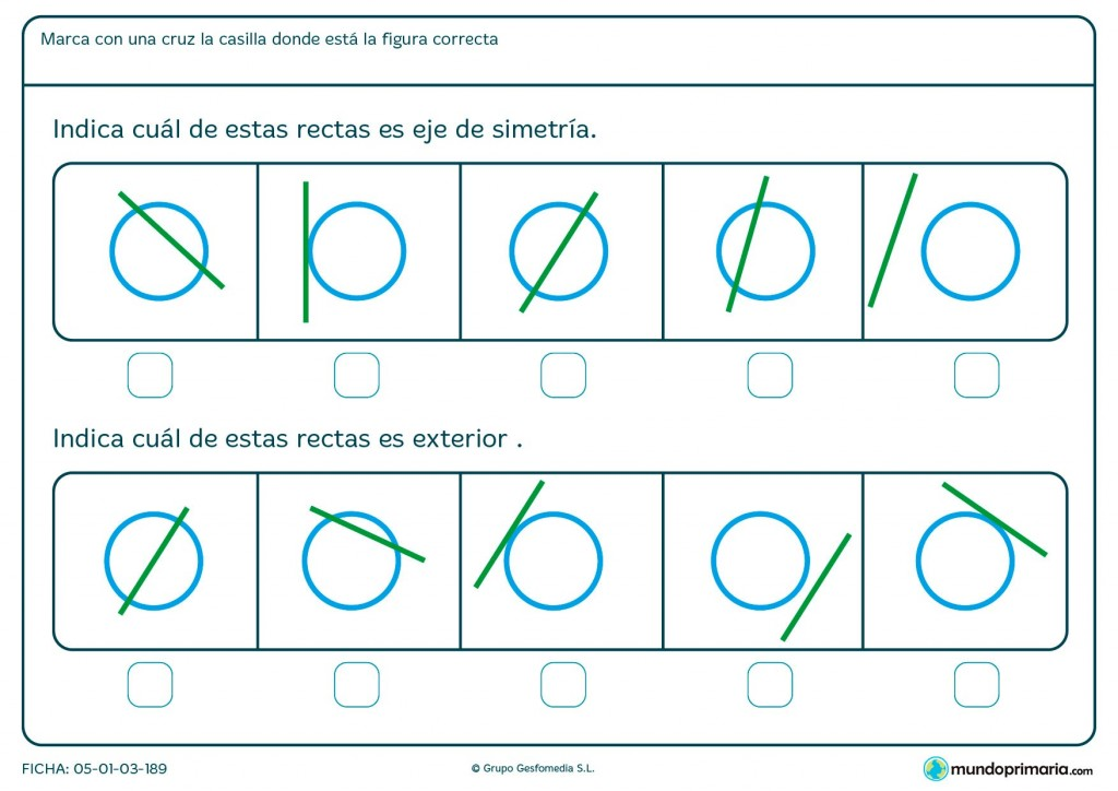 Ficha de eje de simetría y recta exterior para Primaria
