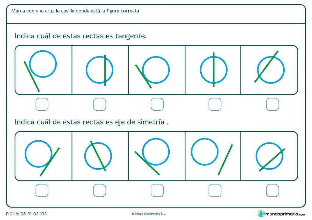 Ficha de eje de simetría y recta tangente para Primaria
