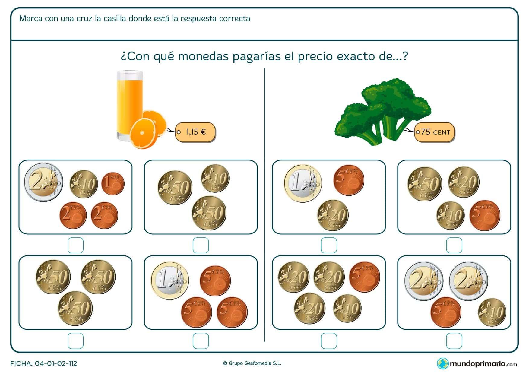 Ficha de elegir el precio exacto del zumo para segundo de Primaria por la que los niños marcarán la opción correcta entre las posibilidades.