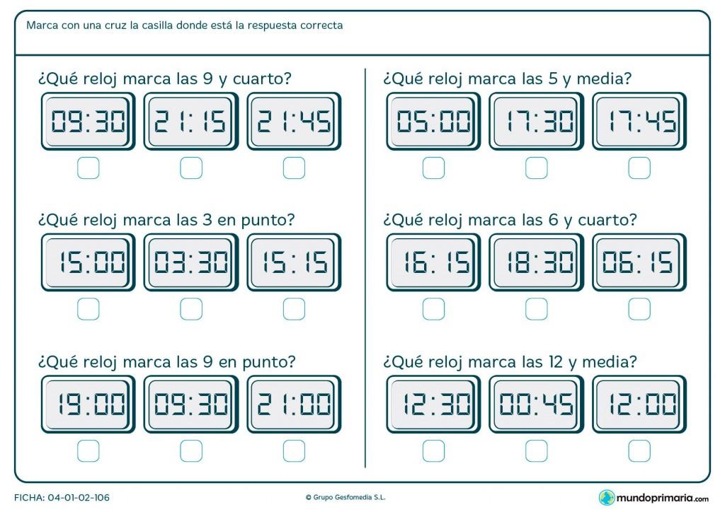Ficha de elegir el reloj pedido para primaria