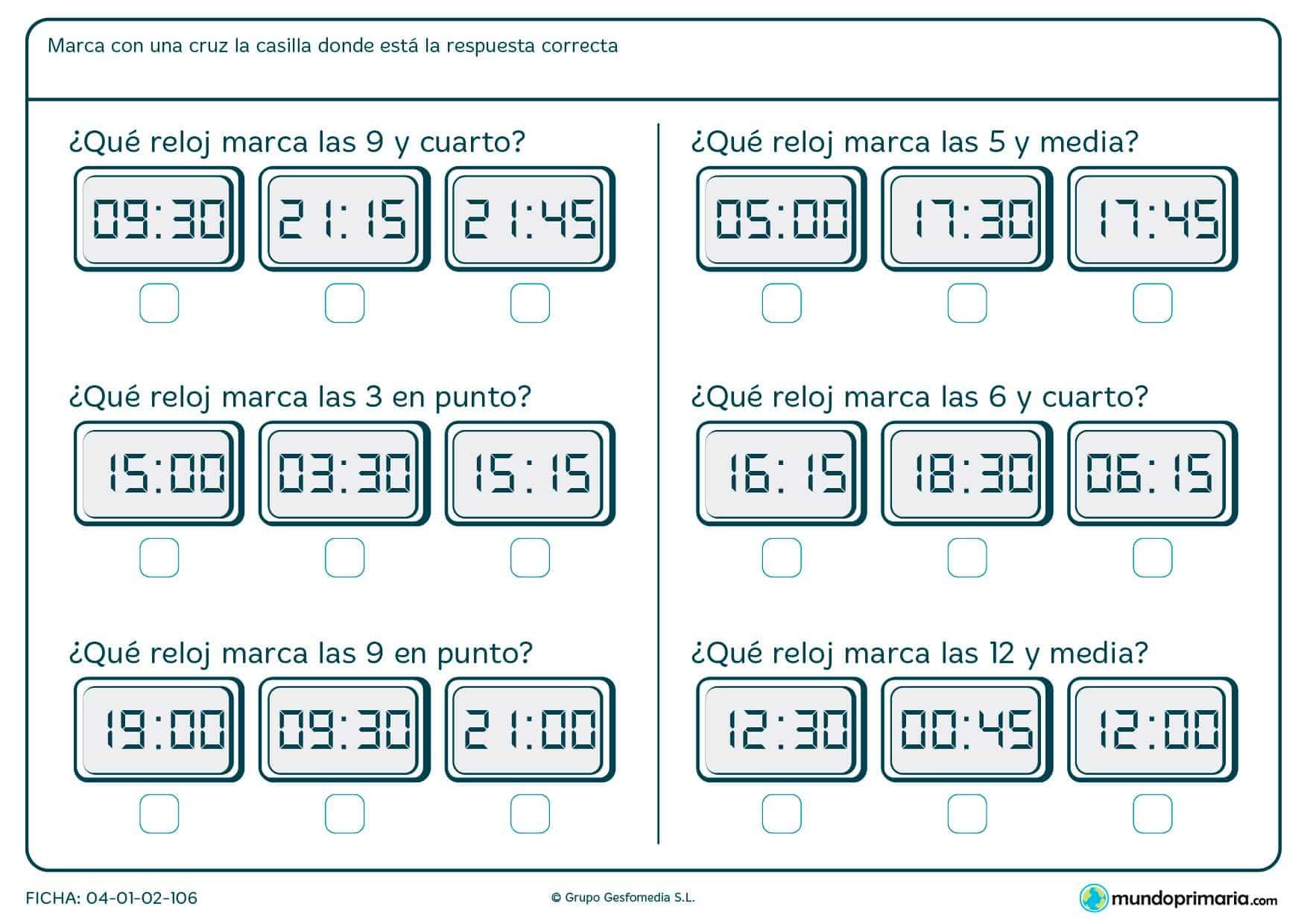 Ficha de elegir el reloj pedido para niños de siete a ocho años por la que tendrán que decidir cuál es la respuesta correcta.