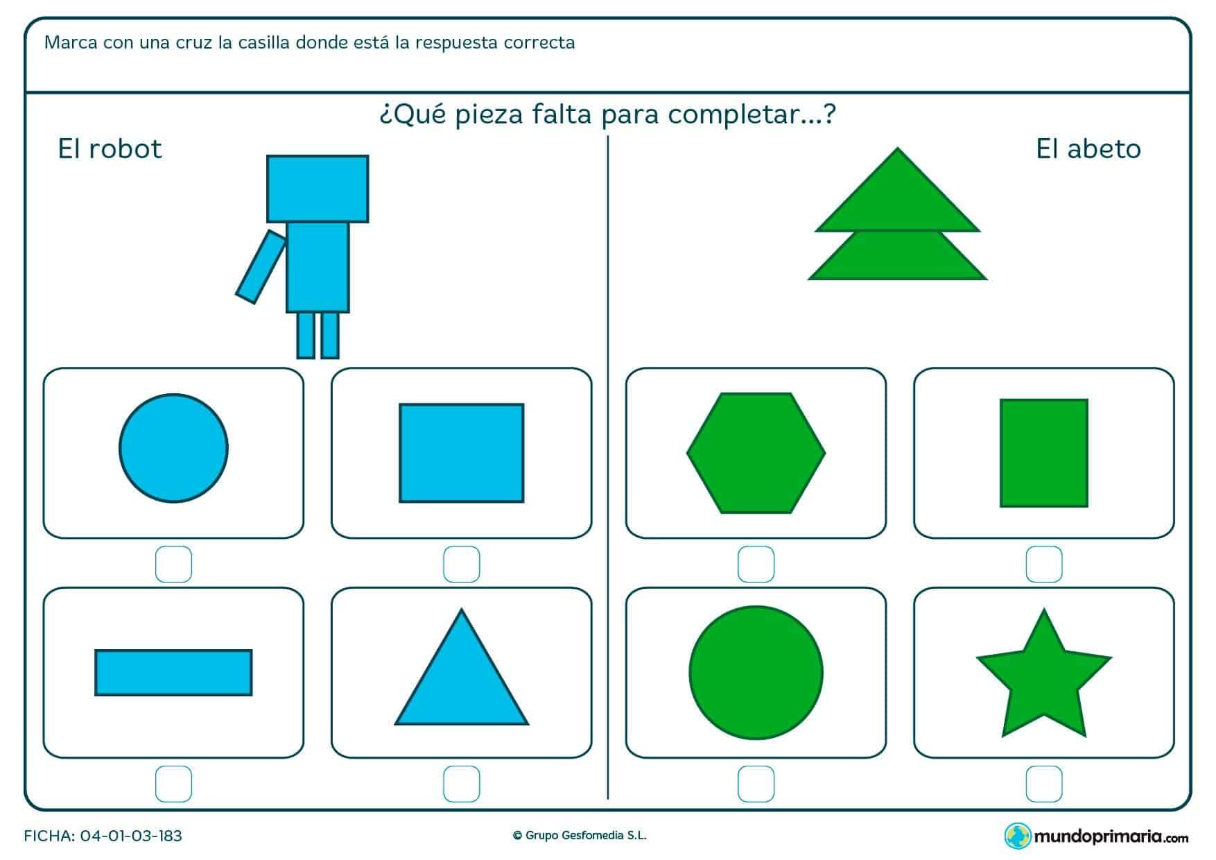 Ficha de elegir la figura que completa el dibujo en la que tendrás que elegir la forma poligonal que falta en la figura.