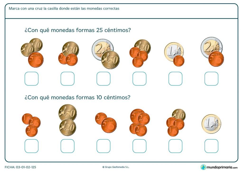 Ficha de elegir monedas para Primaria
