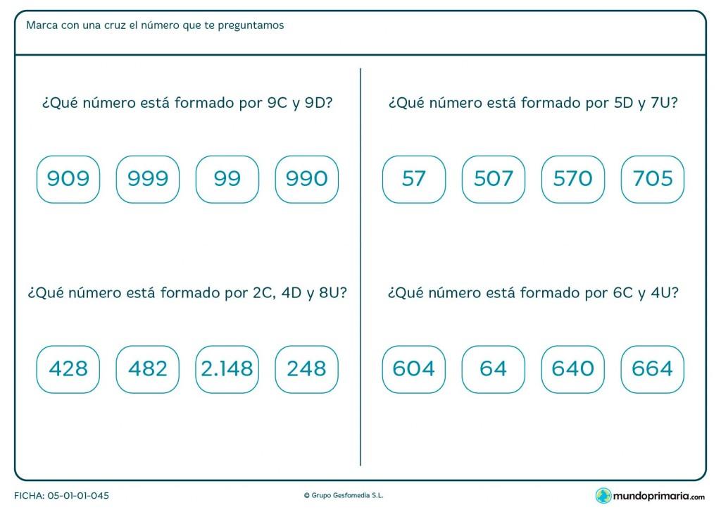 Ficha de elegir número con unidades, decenas y centenas para Primaria