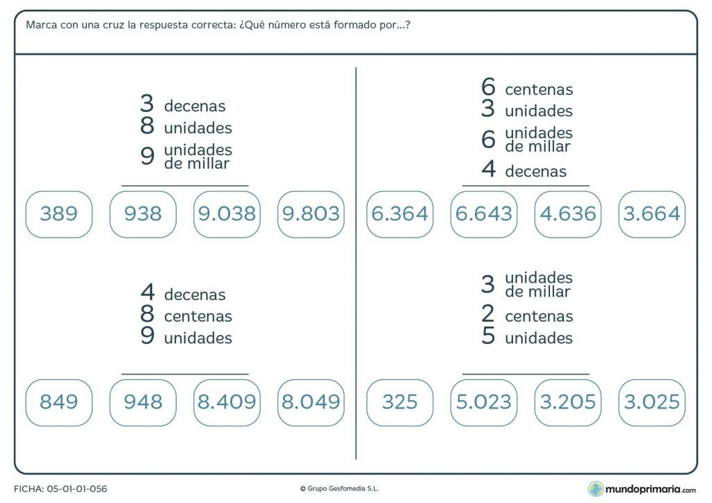 Ficha de encontrar el número formado por las cifras para Primaria