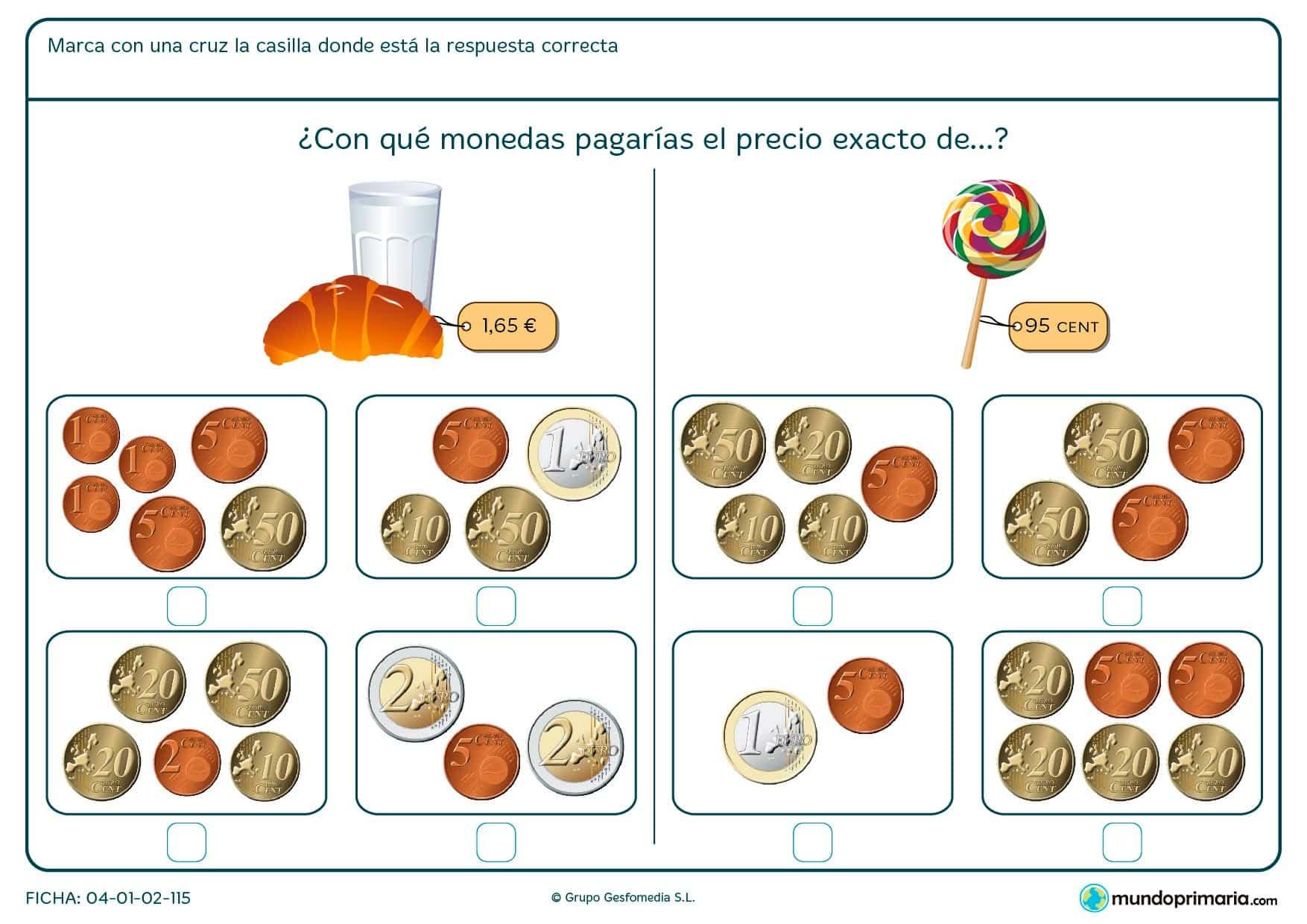 Ficha de encontrar el precio exacto de la piruleta para niños de siete a ocho años por la que los niños elegirán la combinación de monedas más adecuada.