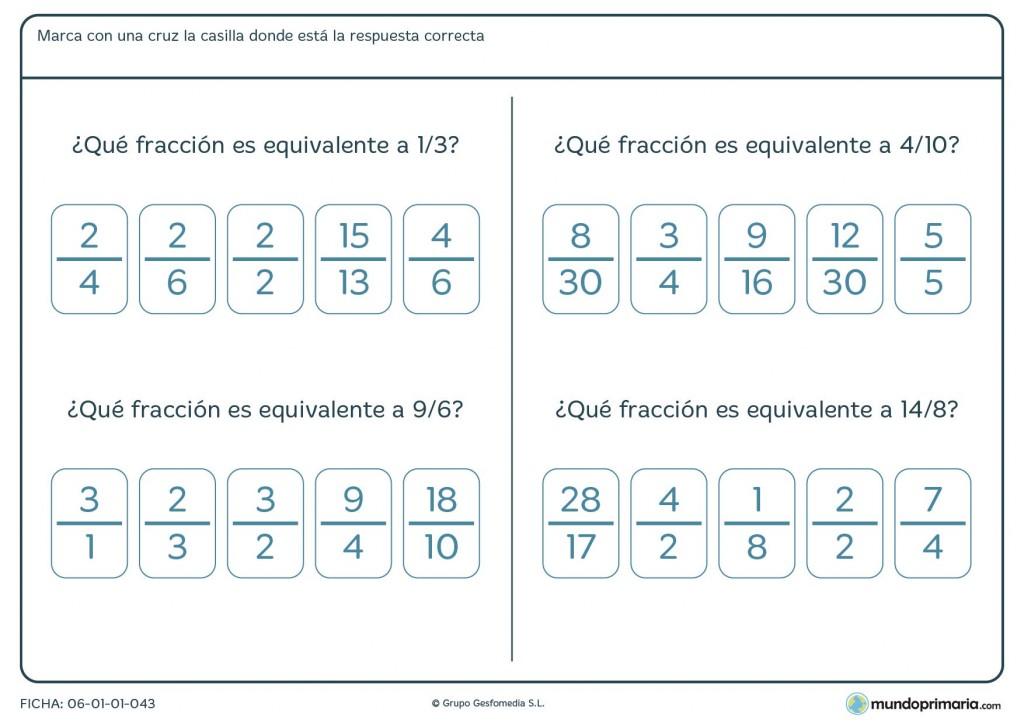 Ficha de encontrar las fracciones equivalentes para 4º de Primaria