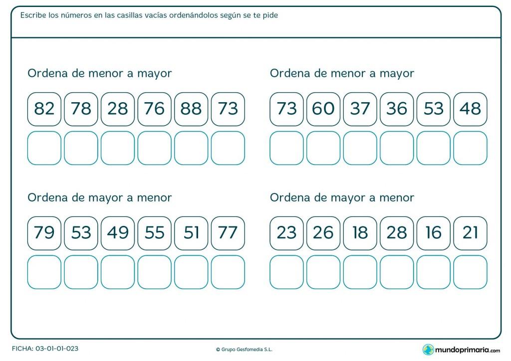 Ficha de escribir los números ordenados para Primaria