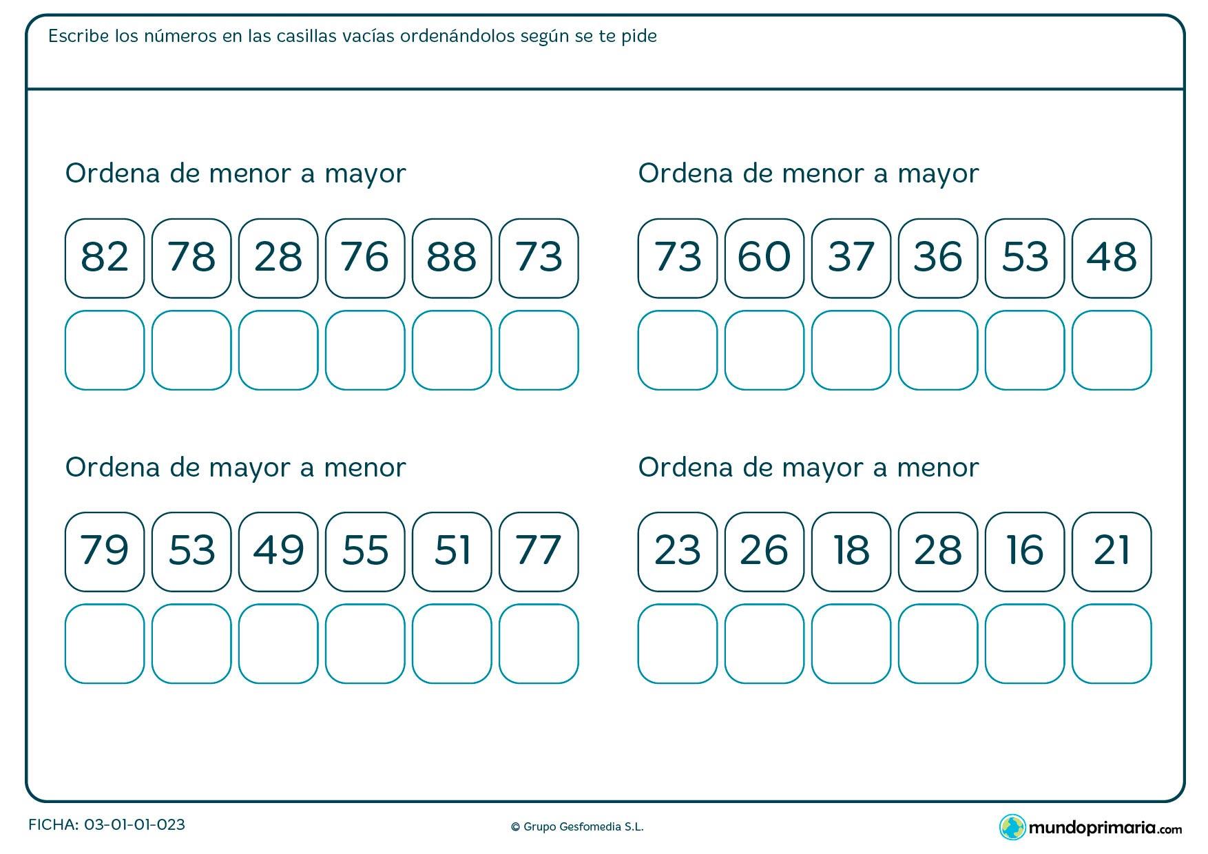 Ficha de escribir los números ordenados en el que hay que colocar estos números en las casillas como corresponda.