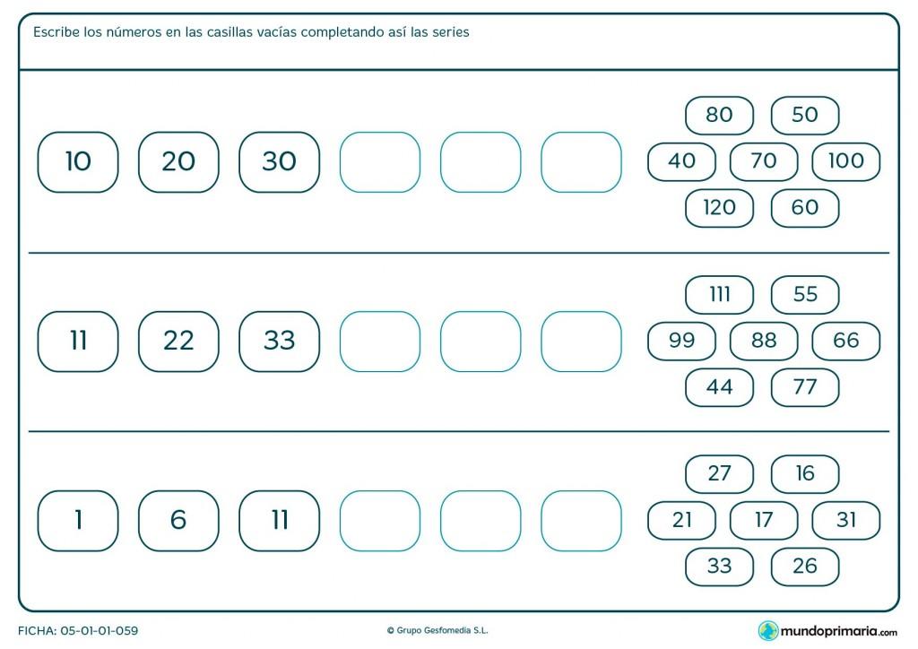 Ficha de escribir los números para completar la serie para Primaria