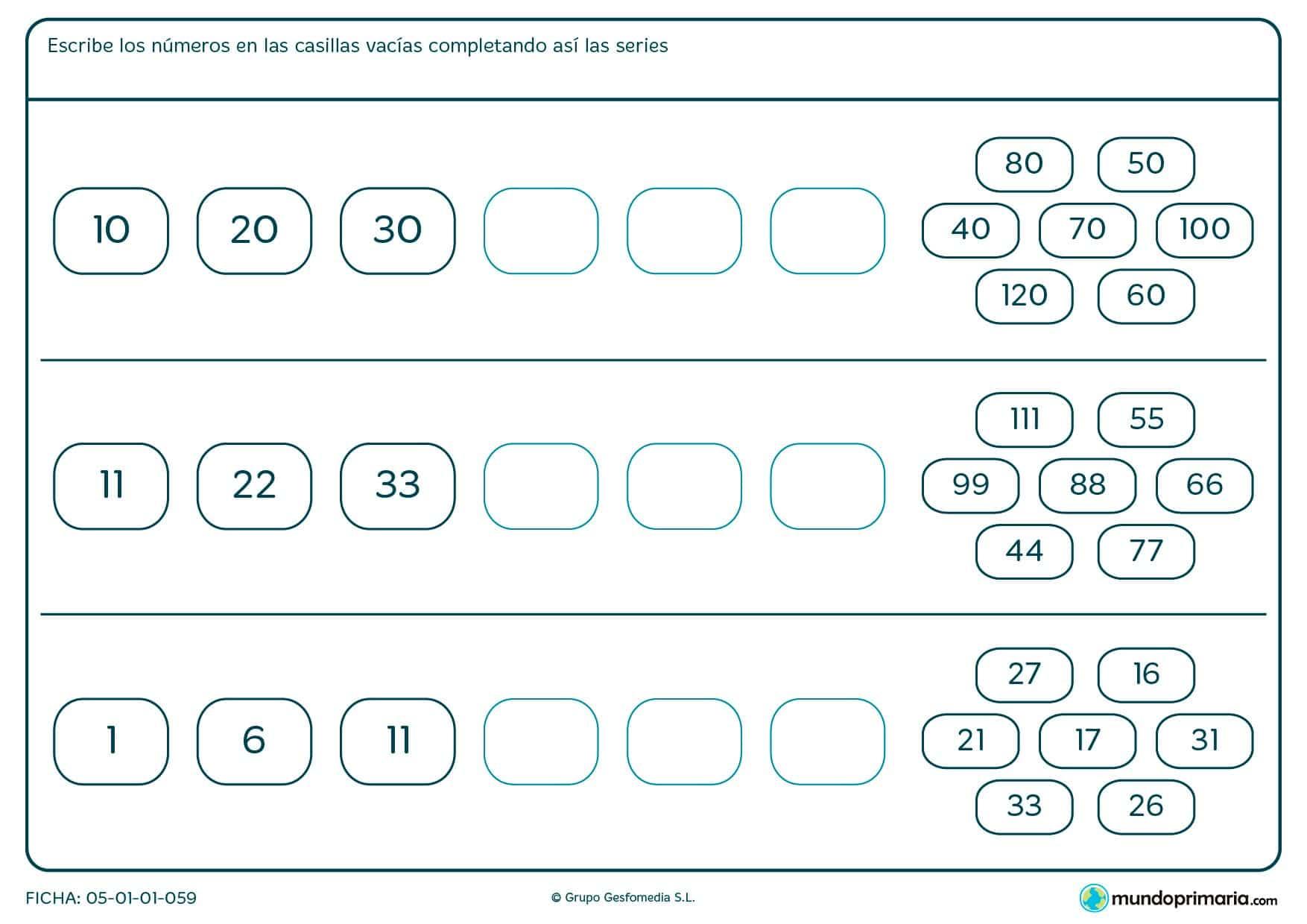 Escribe los números correctos en los huecos para completar las series de esta ficha.