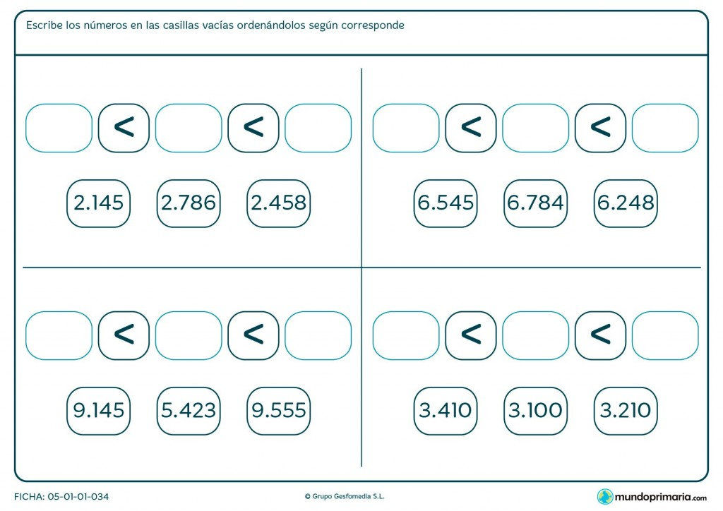 Ficha de escribir ordenando los números para Primaria