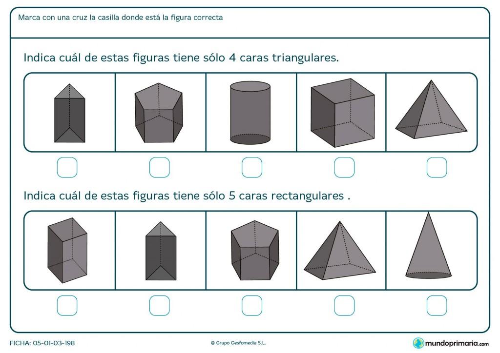 Ficha de figuras de caras triangulares y rectangulares para Primaria