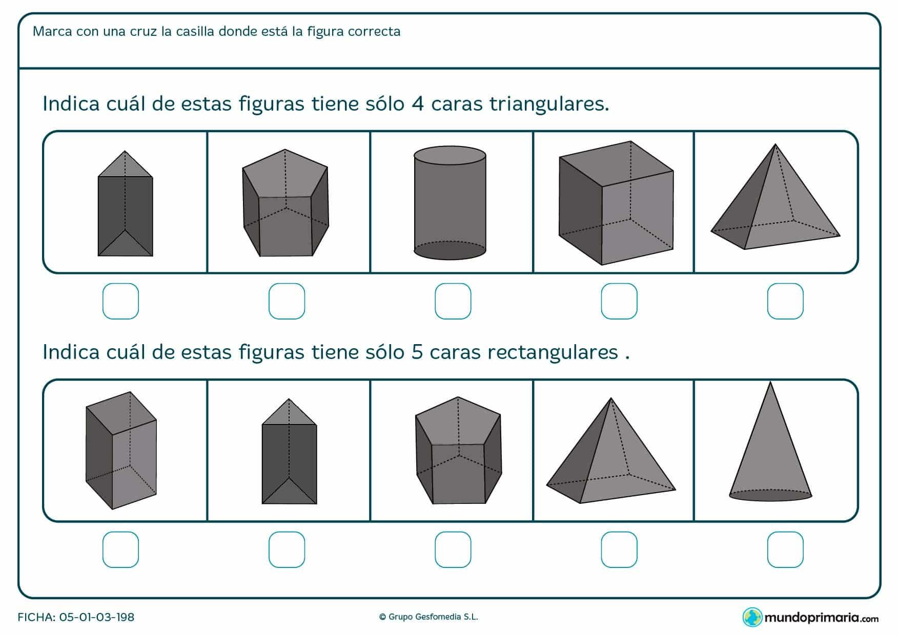 Indica cuáles de las figuras tienen 4 caras triangulares y 5 caras rectangulares.