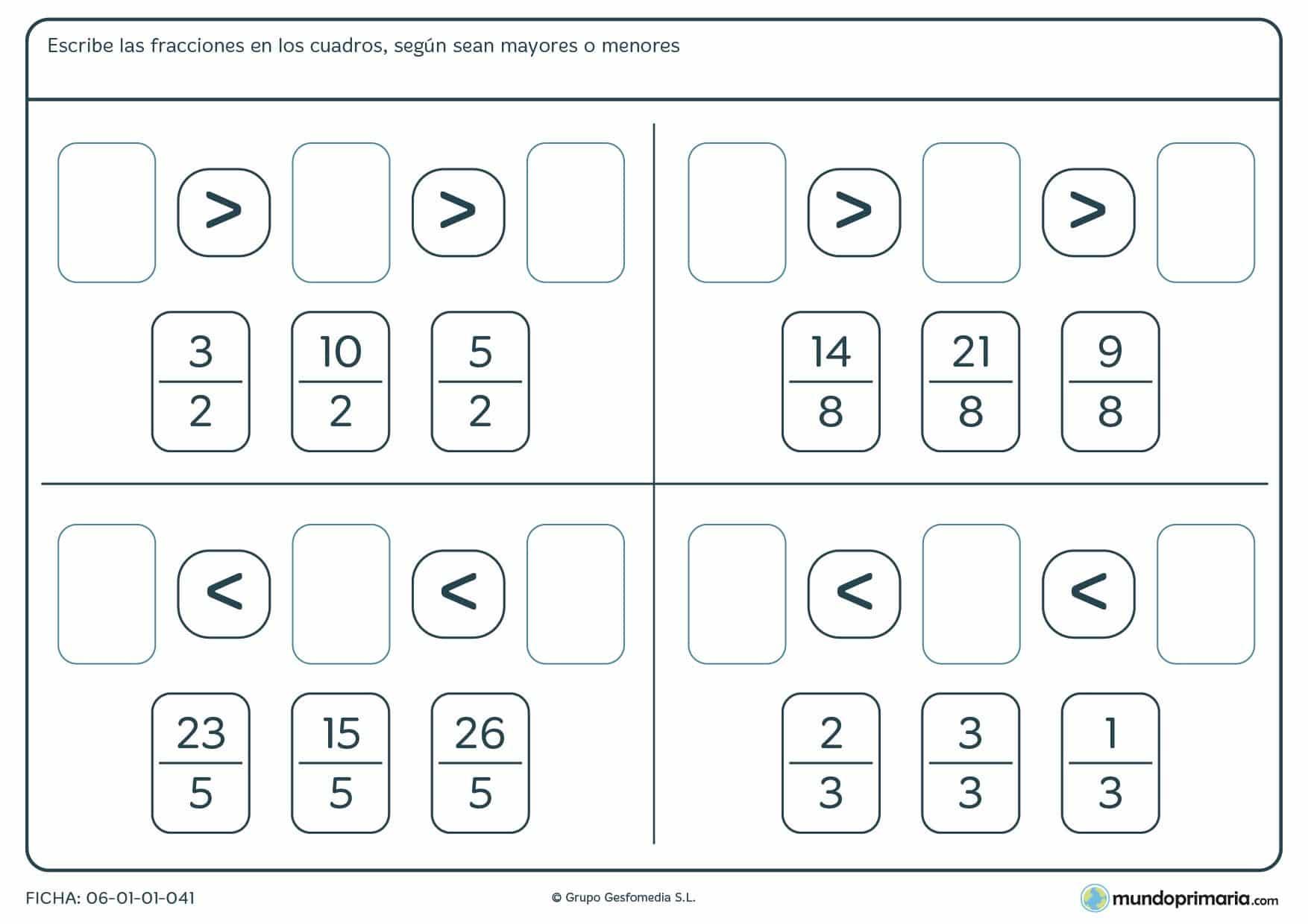 Ficha con cuatro ejercicios sobre fracciones con denominador común, las cuales hay que comparar y ordenar