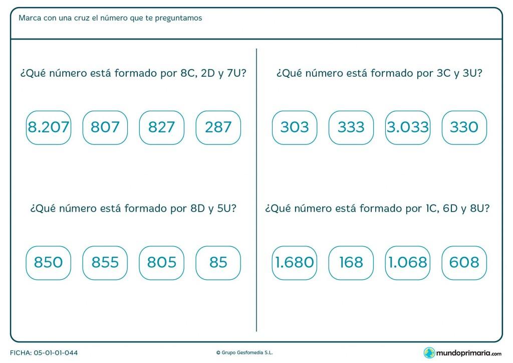 Ficha de hacer números con unidades, decenas y centenas para Primaria
