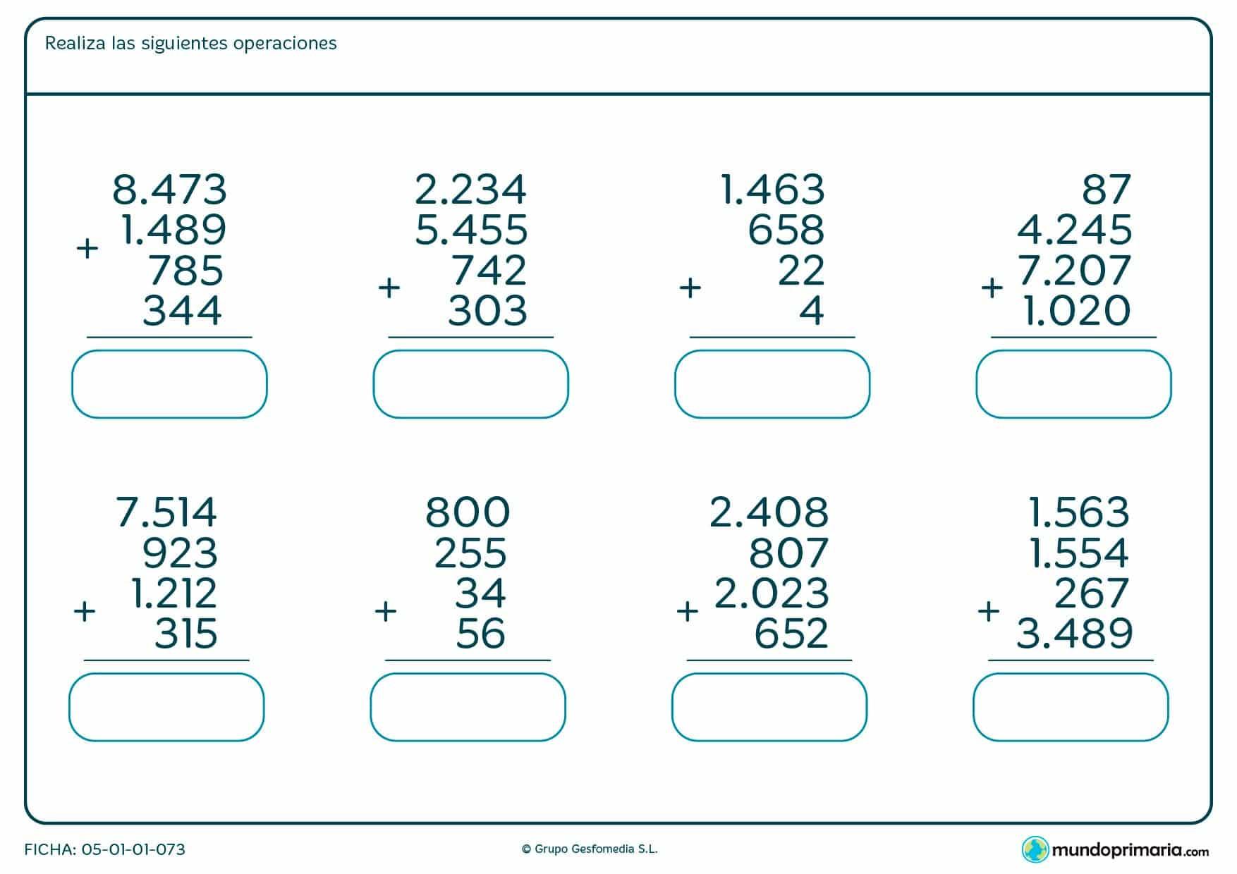 Realiza estas sumas de cuatro números de hasta cuatro cifras.