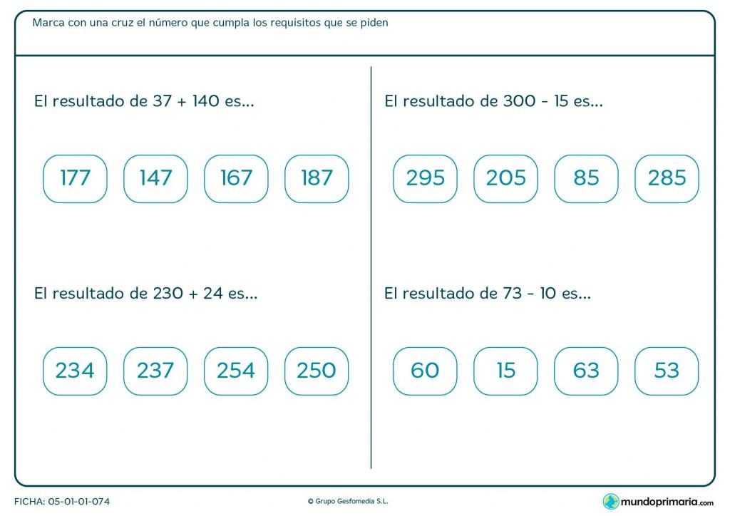 Ficha de hacer sumas y restas horizontales para Primaria