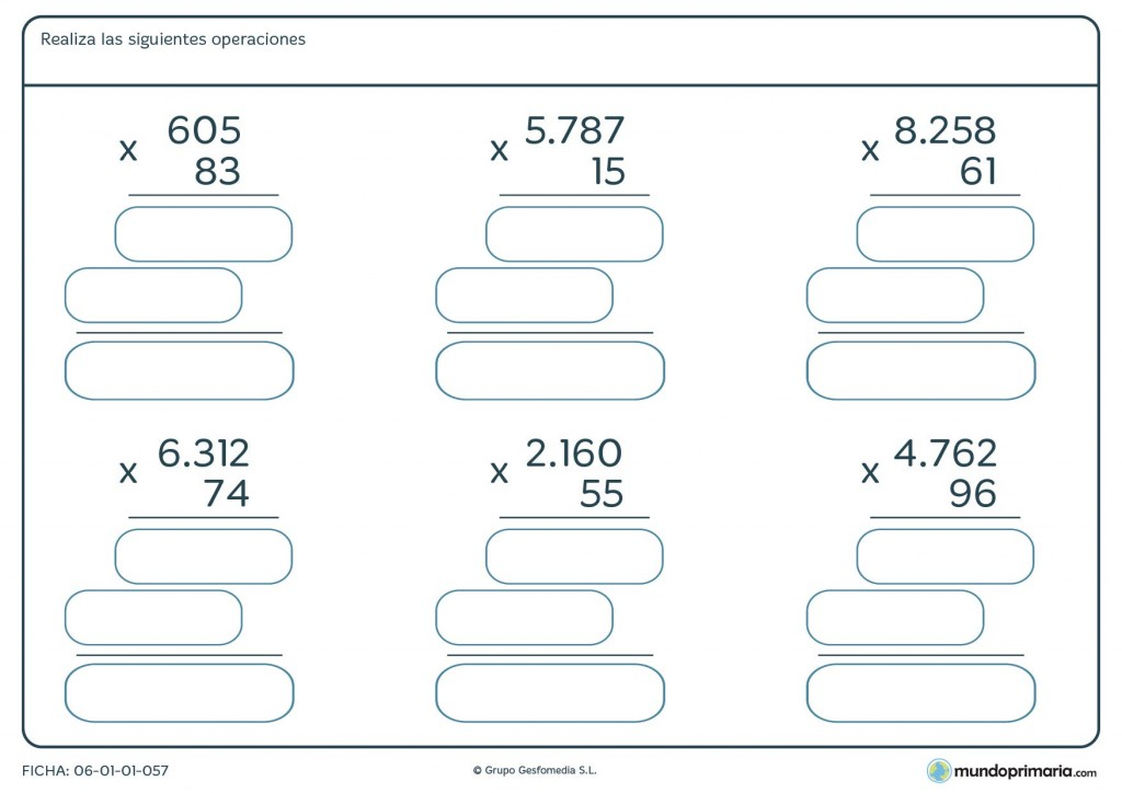 Ficha de hallar el resultado a las multiplicaciones para niños de Primaria